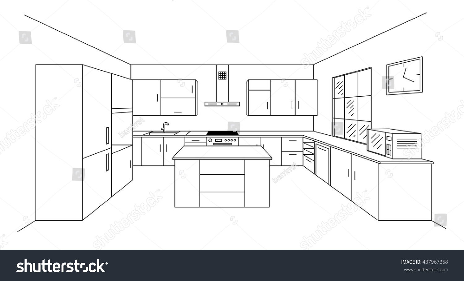 Modern Kitchen Design Plans Sketch Modern Kitchen Plan Island Single Stock Vector Royalty