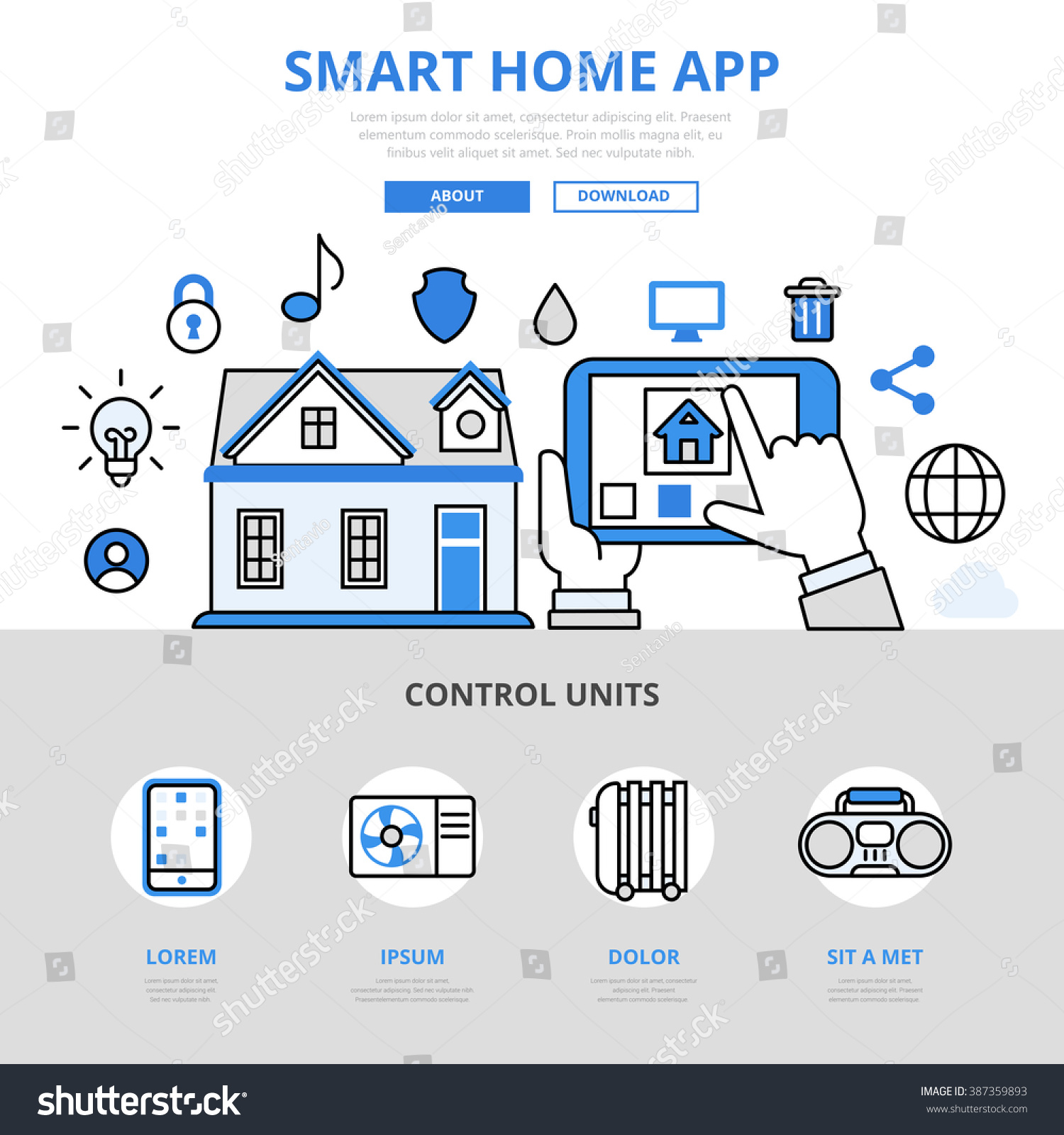 Smart Home App Smart Home App Mobile Application Manage Stock Vector