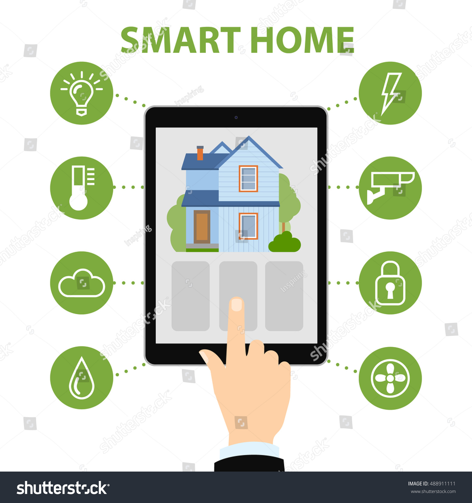 Home Smart Systems Smart Home Concept Hands Hold Tablet Stock Vector
