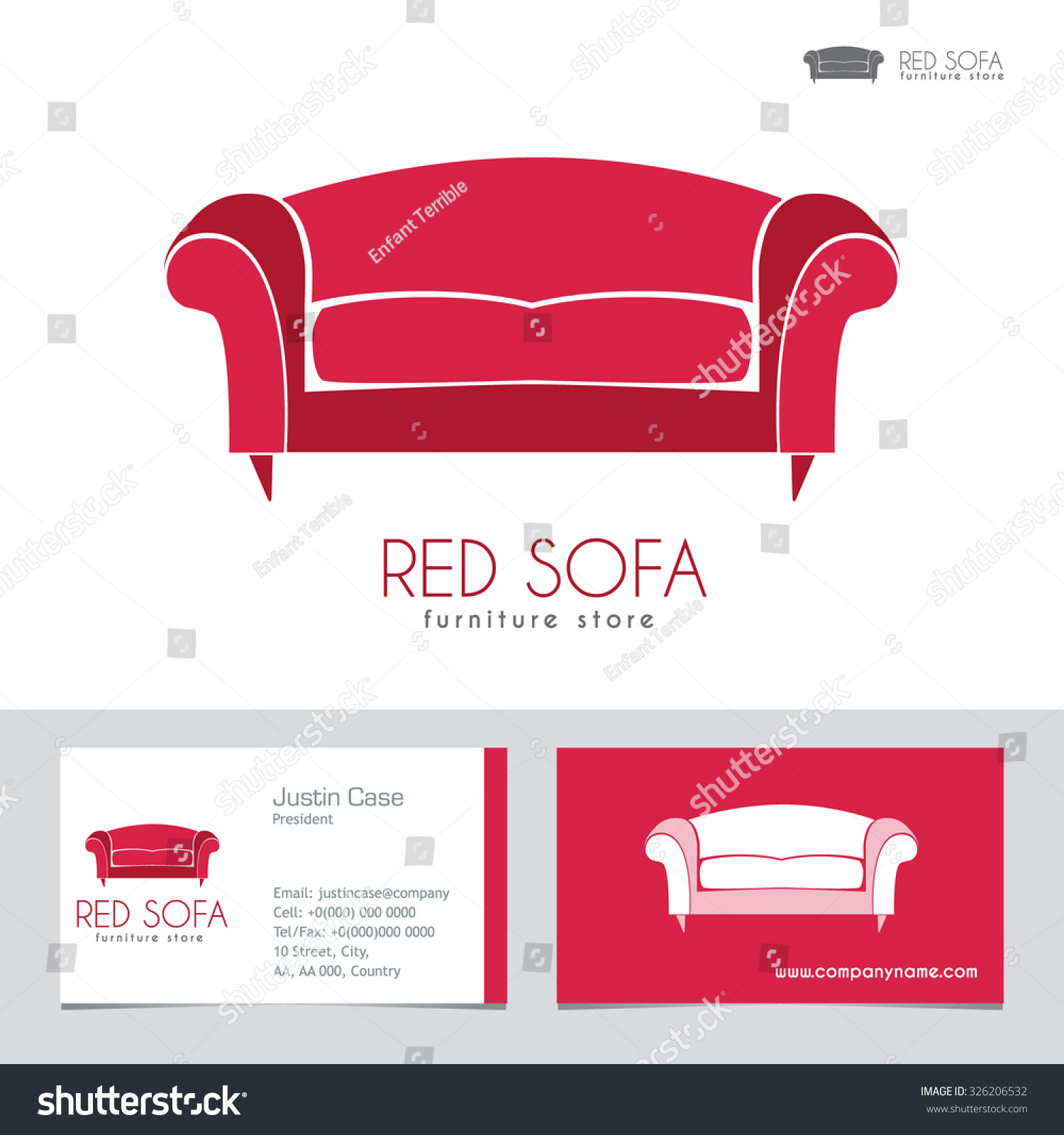 Sofa House Manufacturers Sofa Business Sign Business Card Vector Stock Vector Royalty Free