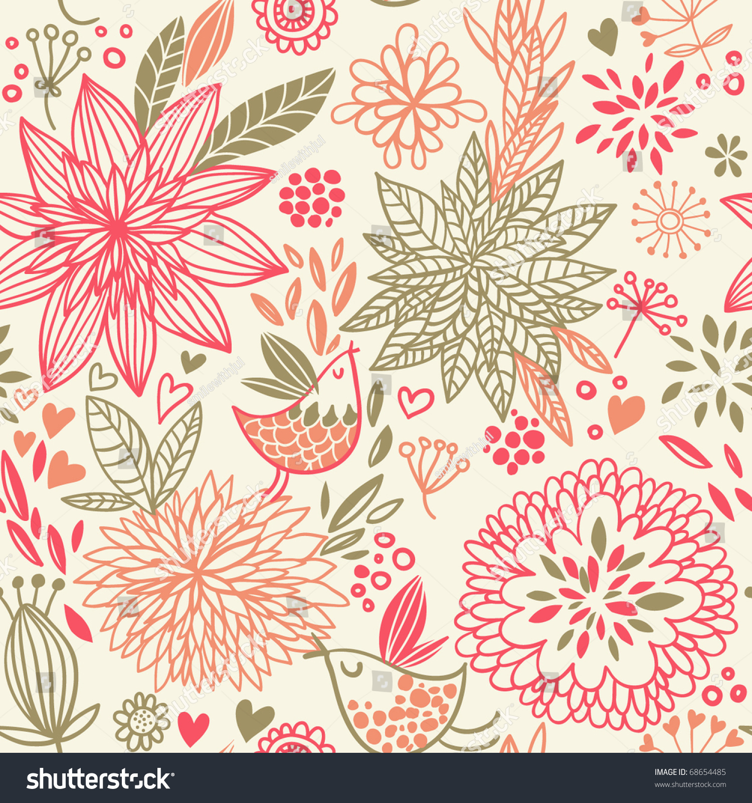 Fall Leaves Clip Art Wallpaper Spring Floral Design Pattern Stock Vector 68654485