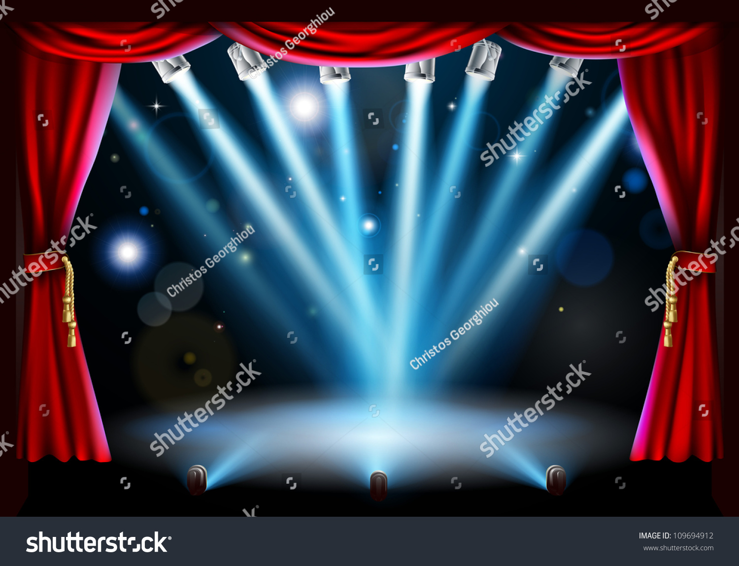 Bl blue stage curtains background - Download