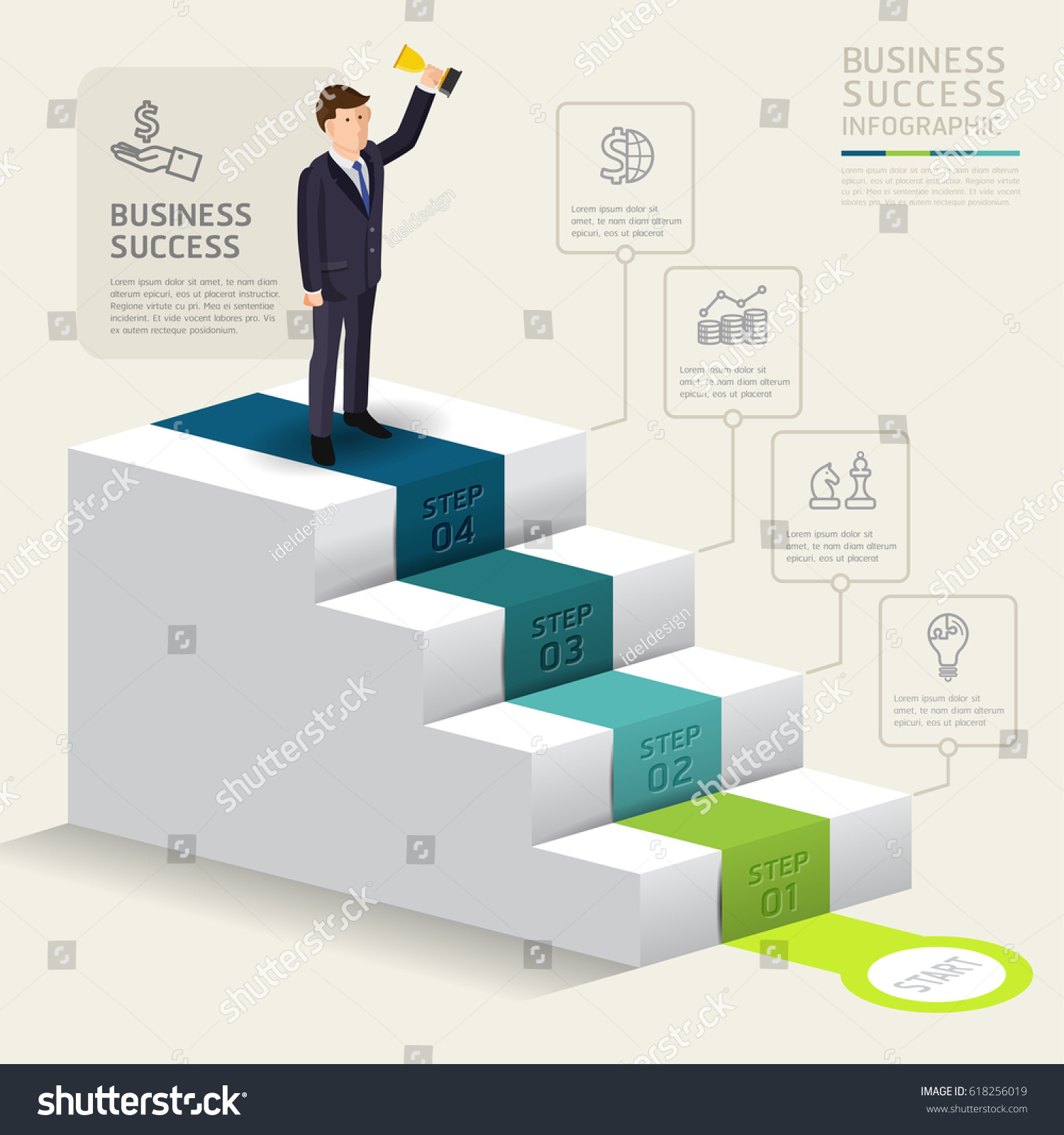 Business Step Steps Starting Business Template Success Businessman Stock Vector