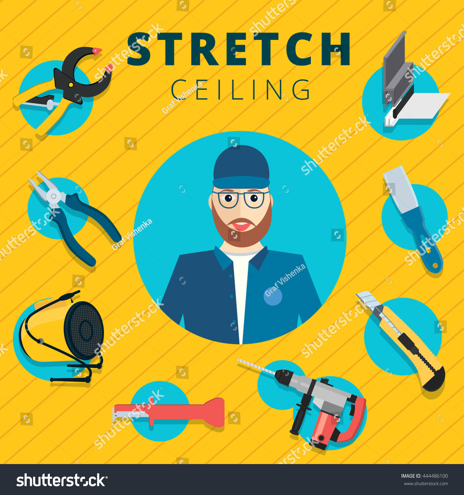 Ceiling Design Vector Stretch Ceiling Vector Tools Worker Illustration Stock