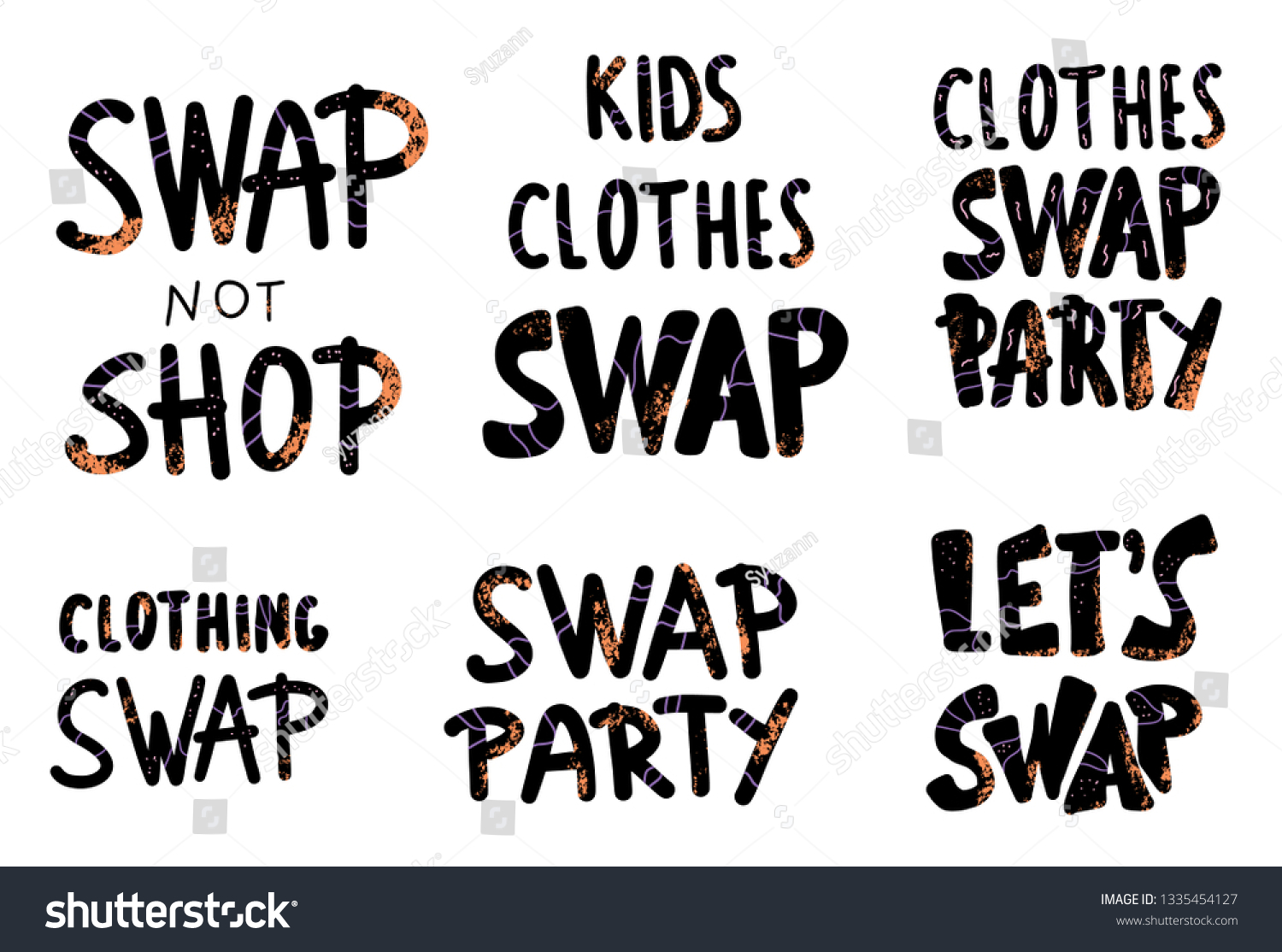 Clothes Quotes Swap Lettering Set Collection Quotes Clothes Stock Vector Royalty