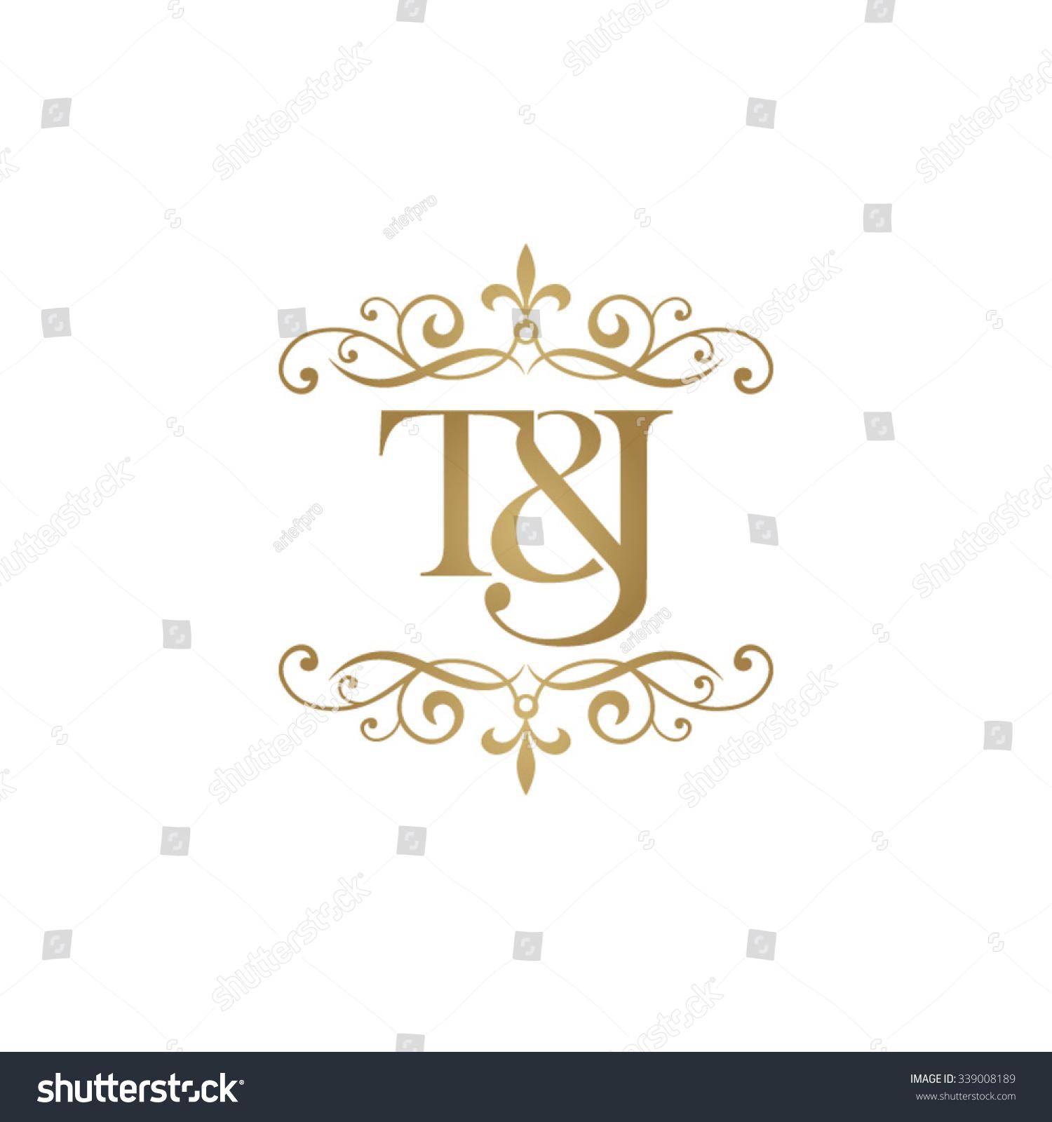 T j initial logo ornament ampersand monogram golden logo