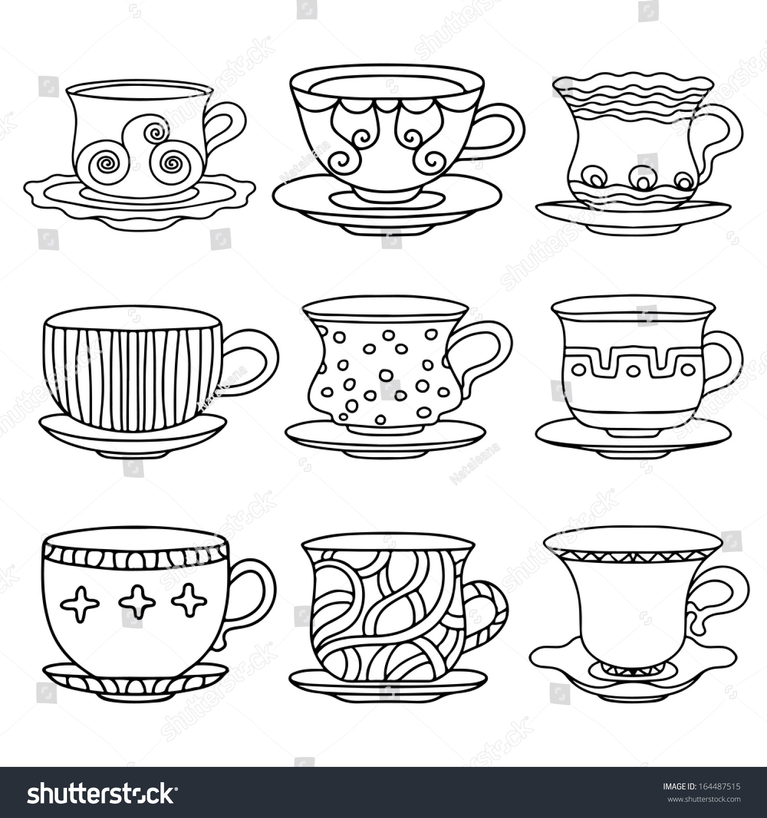 Design Koffiemok Tea Cup Coffee Cup Saucers Set Stock Vector 164487515