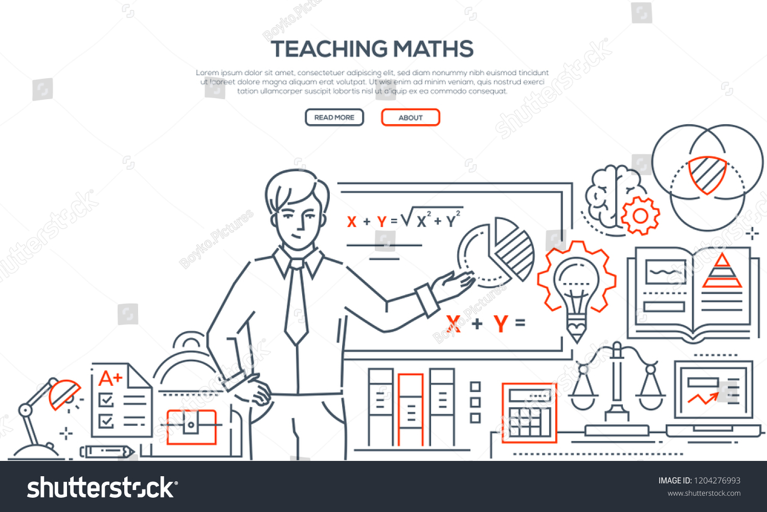 Teaching Maths Teaching Maths Colorful Line Design Style Stock Vector Royalty