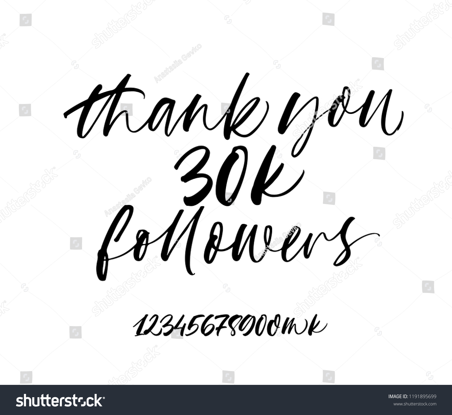 K Modern Calligraphy Thank You 30 K Followers Banner Hand Stock Vector Royalty Free