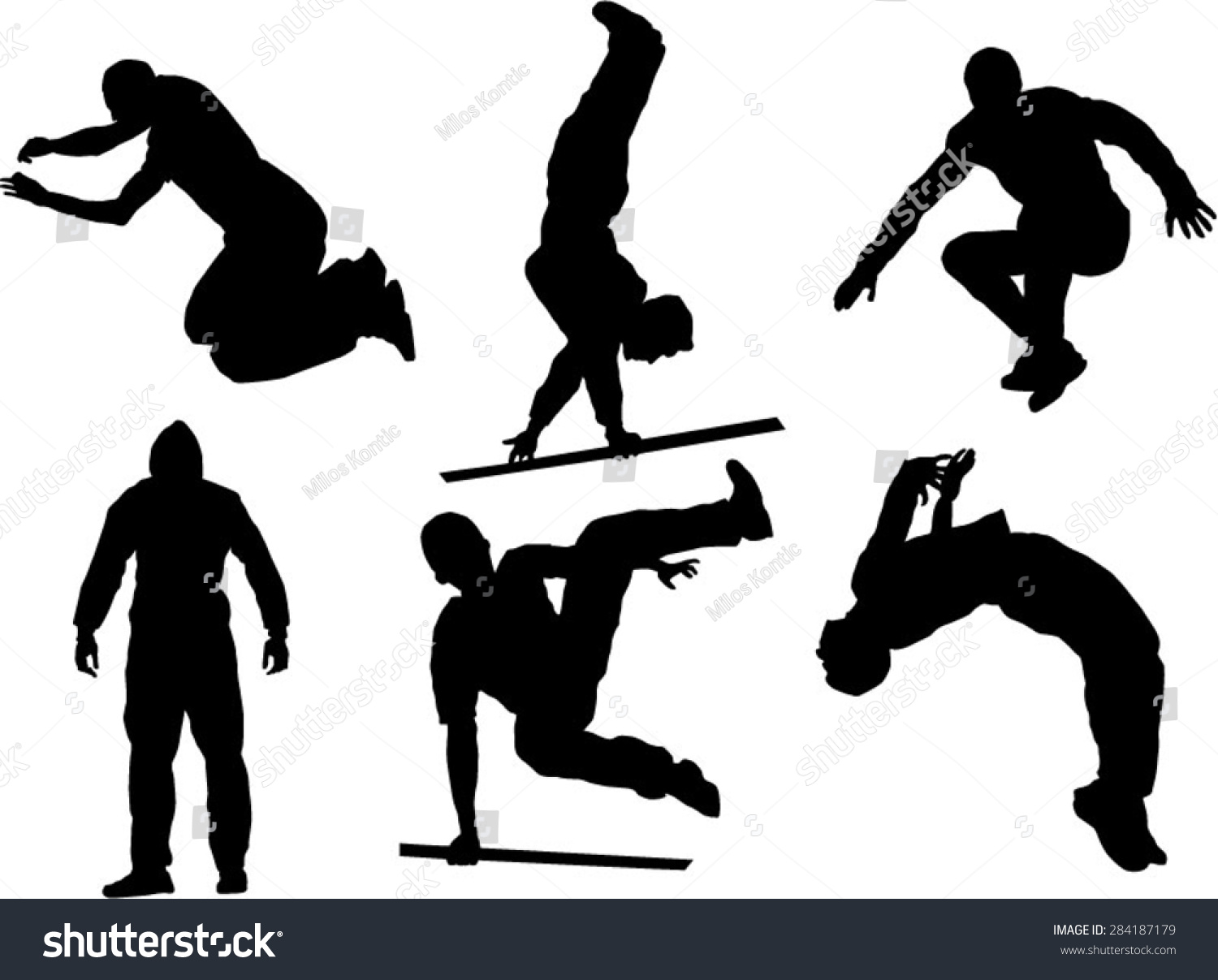 Silhouette Girl Real Wallpaper Set Six Parkour Silhouette Stock Vector 284187179