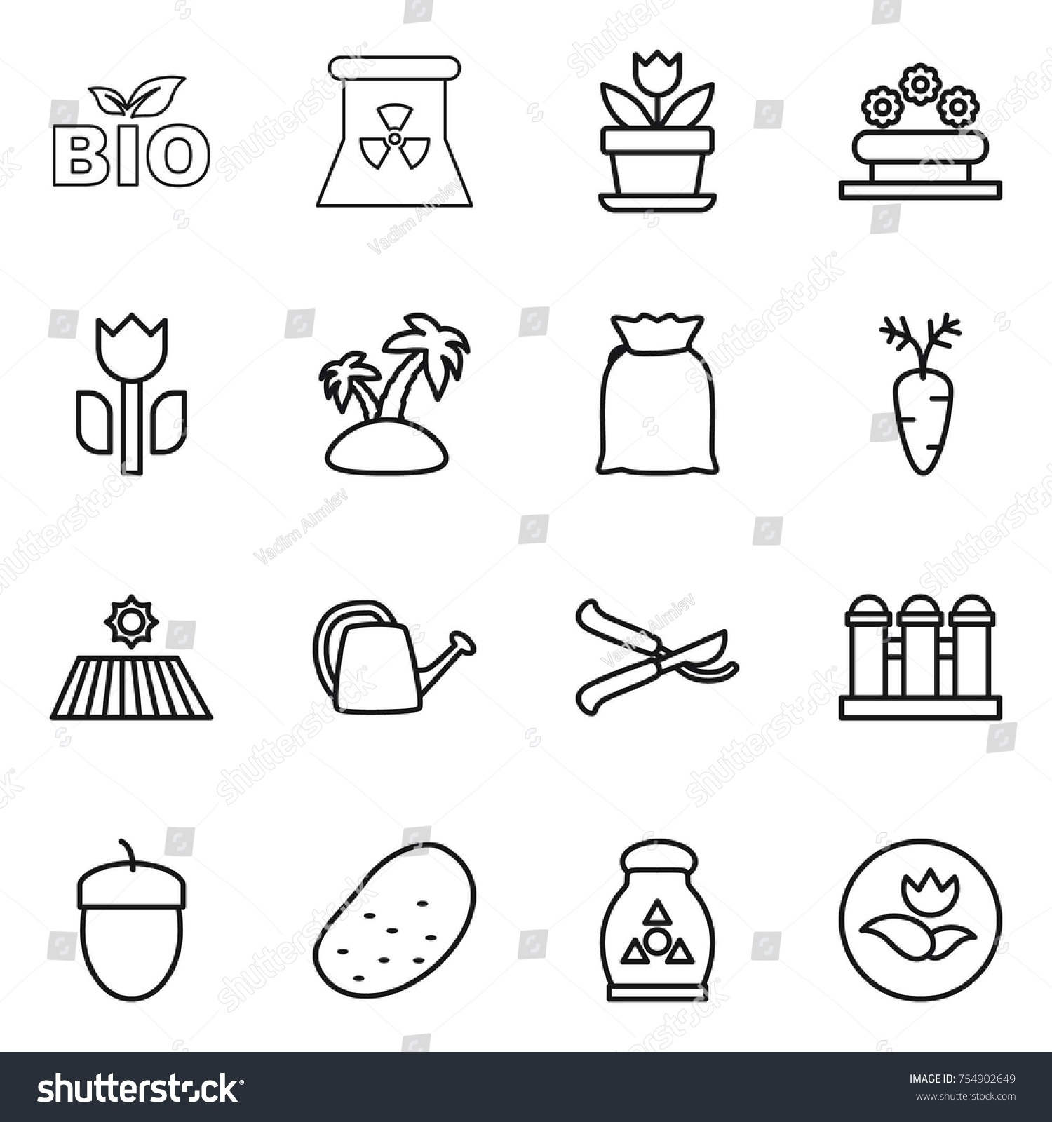 Grain Bio Thin Line Icon Set Bio Nuclear Stock Vector Royalty Free