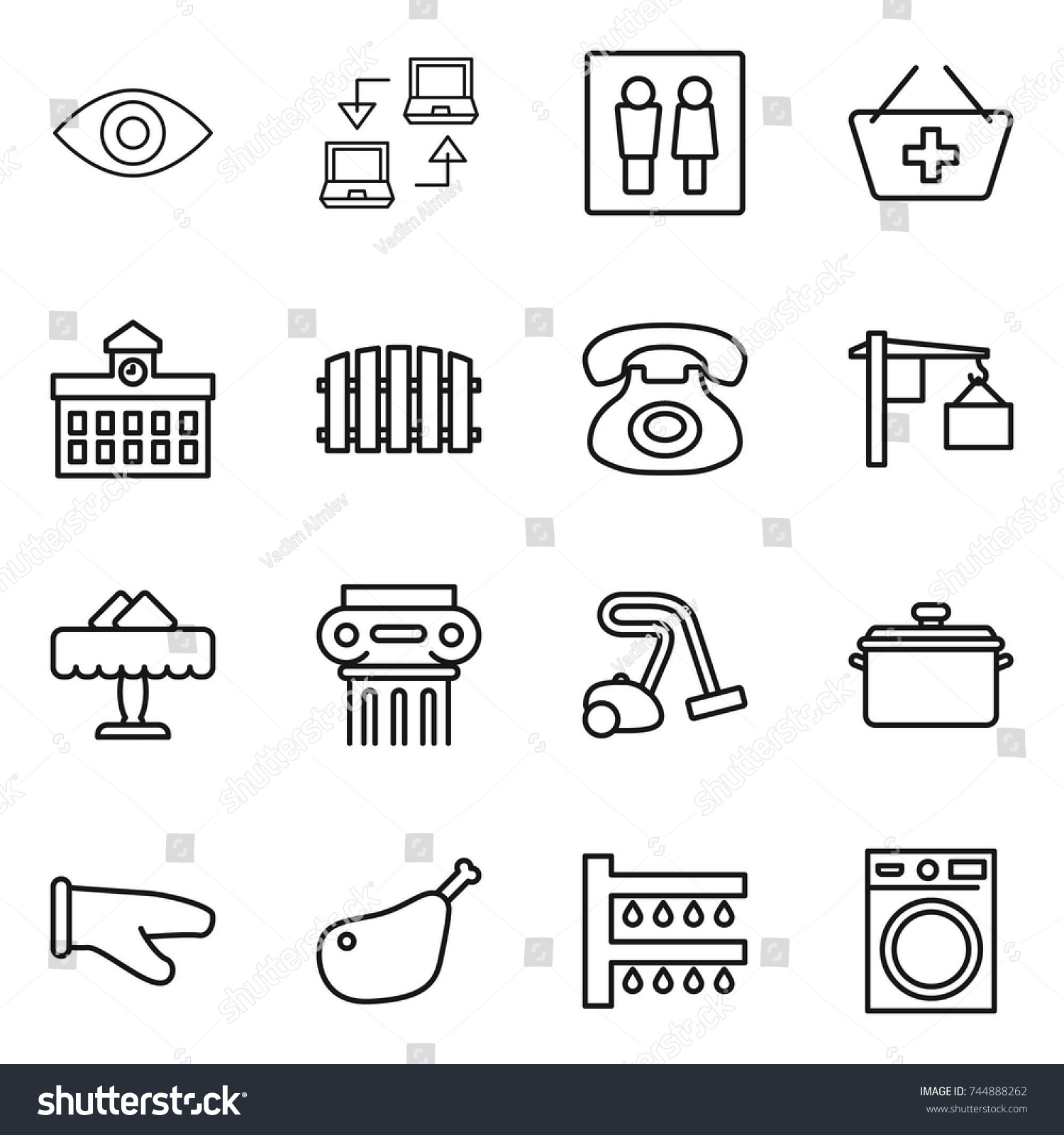Connect Wc Thin Line Icon Set Eye Notebook Stock Vector Royalty Free