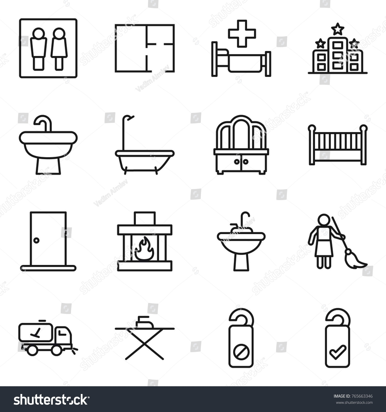 Wc Plan Thin Line Icon Set Wc Plan Stock Vector Royalty Free 765663346