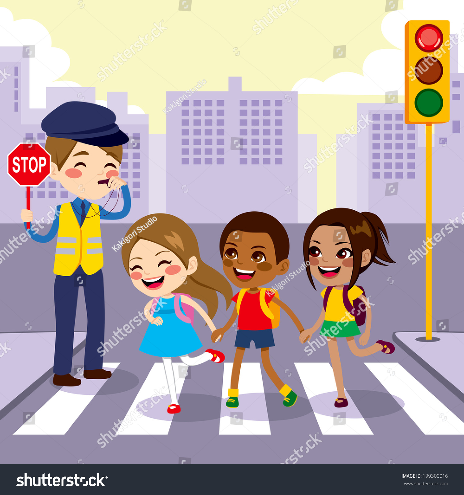 Road Crossing Clipart Black And White Three Cute Little School Children Students Stock Vector