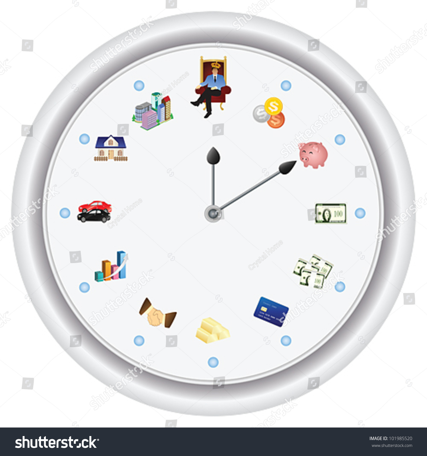 Special Clock Time Money Special Clock Shows How Stock Vector Royalty Free