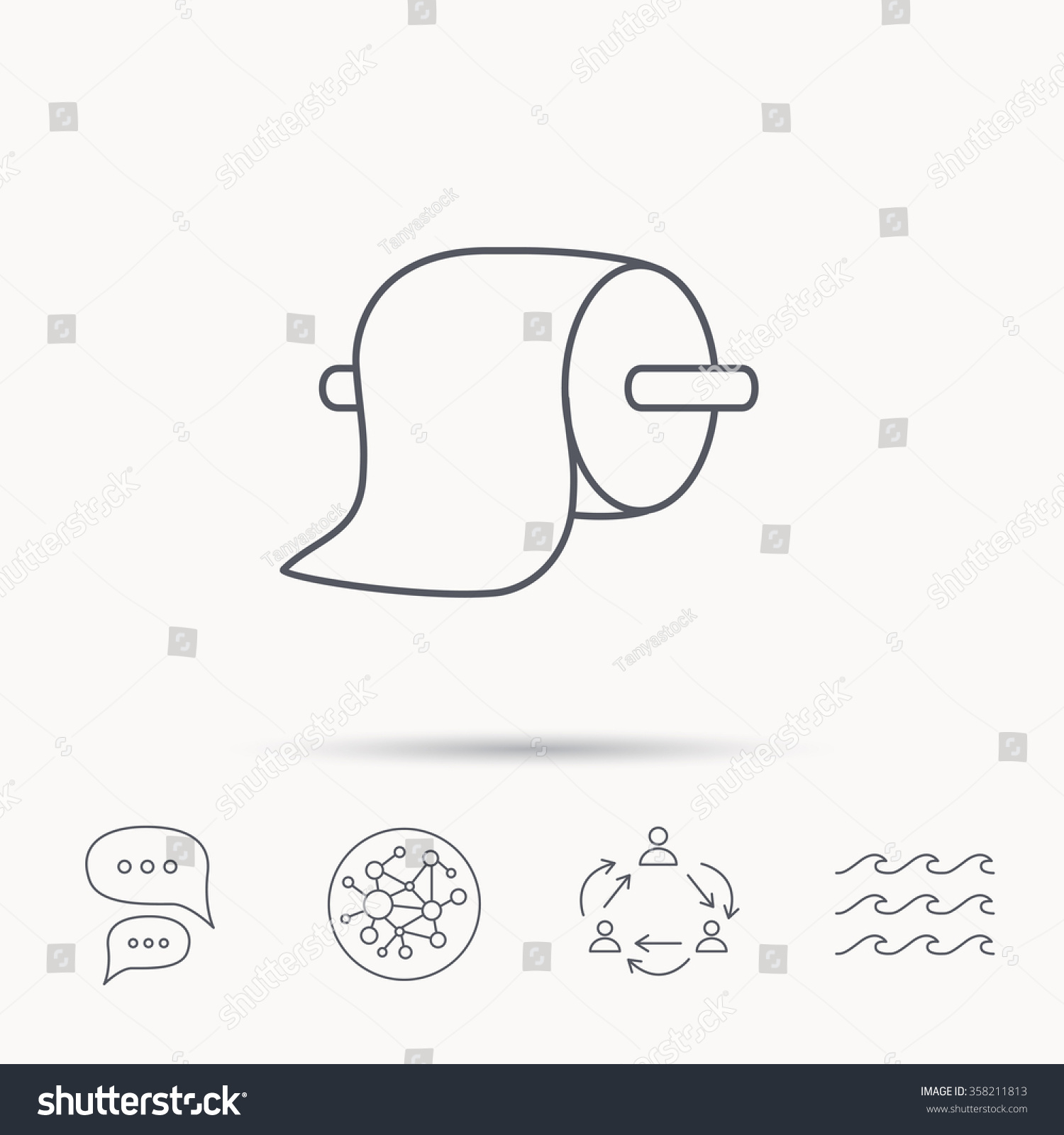 Connect Wc Toilet Paper Icon Wc Hygiene Sign Stock Vector Royalty Free