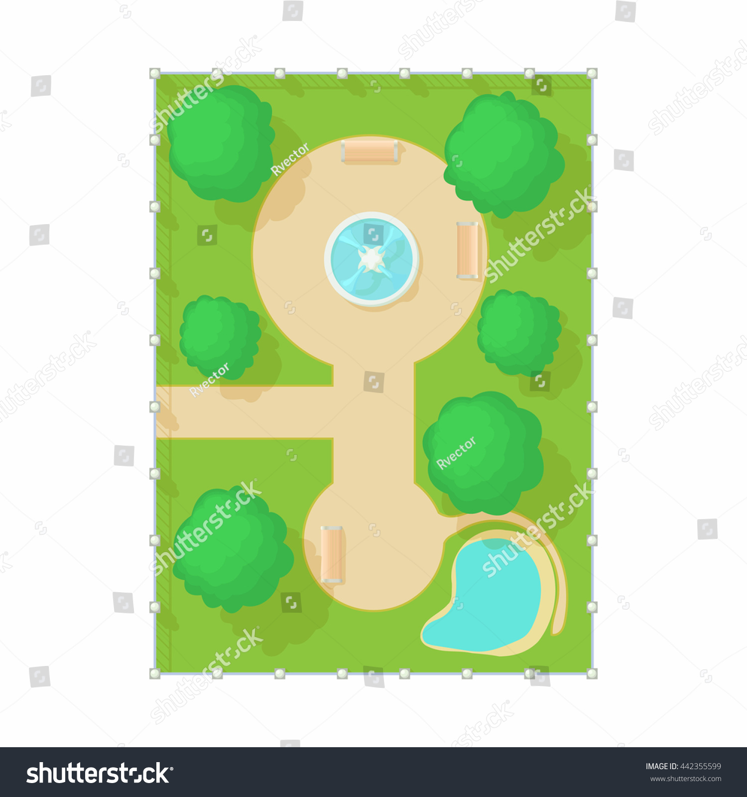 Top View Of Park With A Fountain Icon In Cartoon Style On