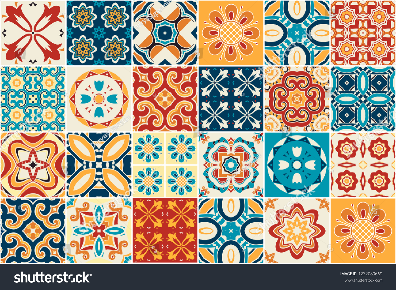 Azulejos De Colores Traditional Ornate Decorative Color Tiles Azulejos Stock Vector