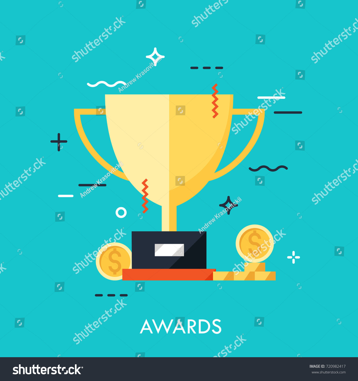 Möbel Modern Design Trophy First Place Winner Icon Flat Stock Vector Royalty Free