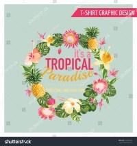 Tropical Flowers Graphic Design Tshirt Fashion Stock ...