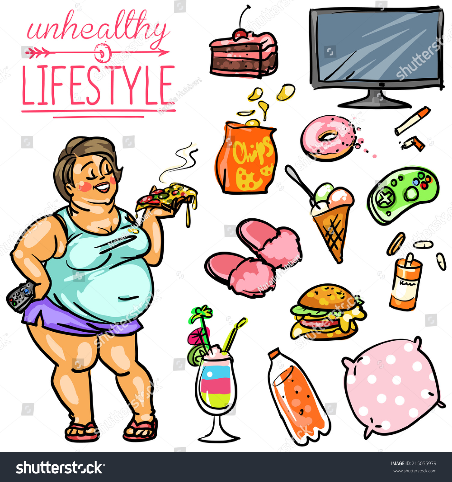 Amerikaner Kuchen Englisch Unhealthy Lifestyle Hand Drawn Cartoon Collection Stock