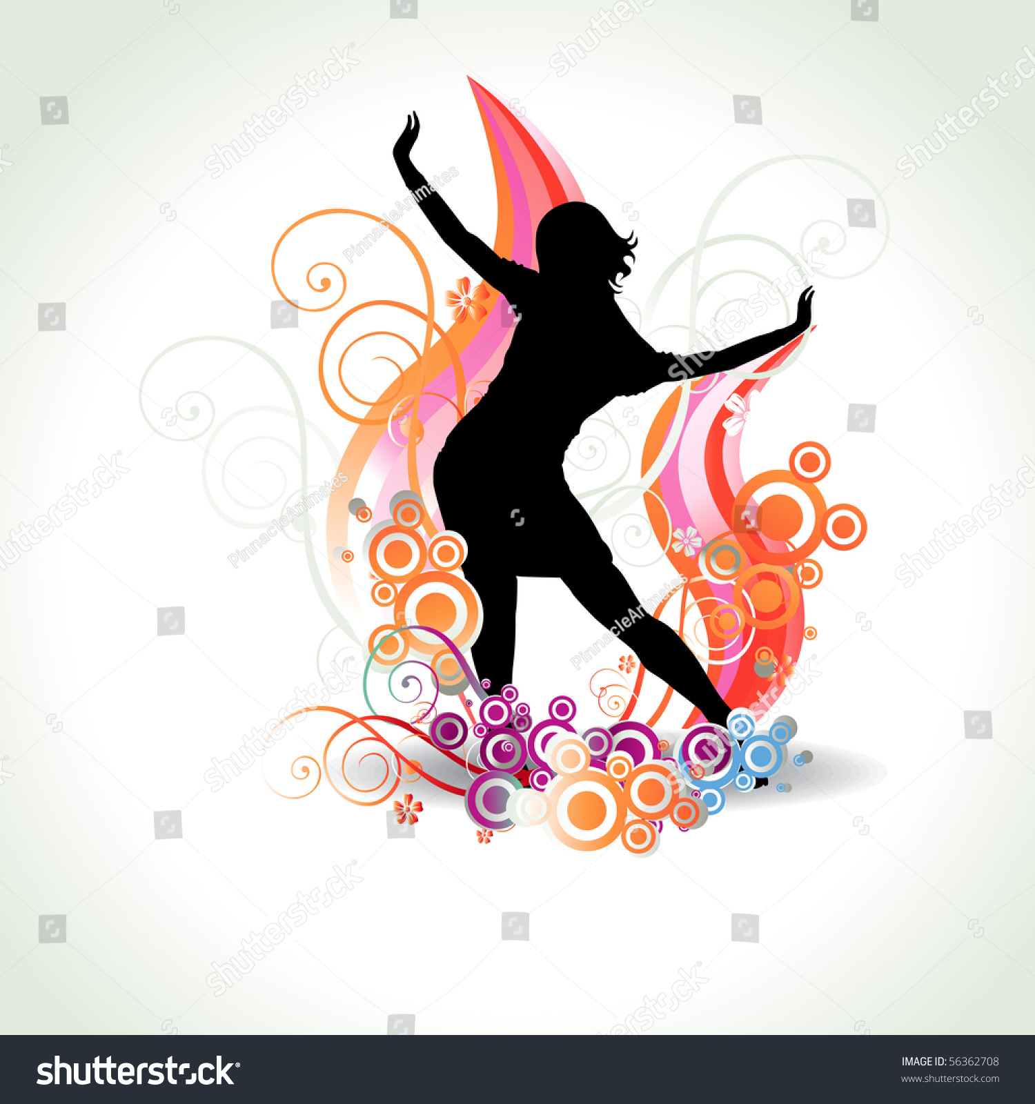 Abstract Painting Of Girl Dancing Vector Abstract Dancing Girl Stock Vector 56362708