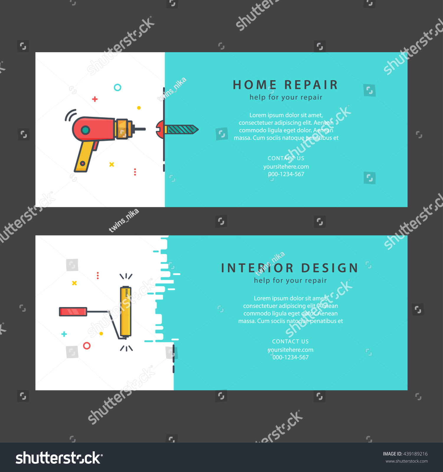 Home Repair Companies Vector Bright Flyers Home Repair Horizontal Stock Vector Royalty