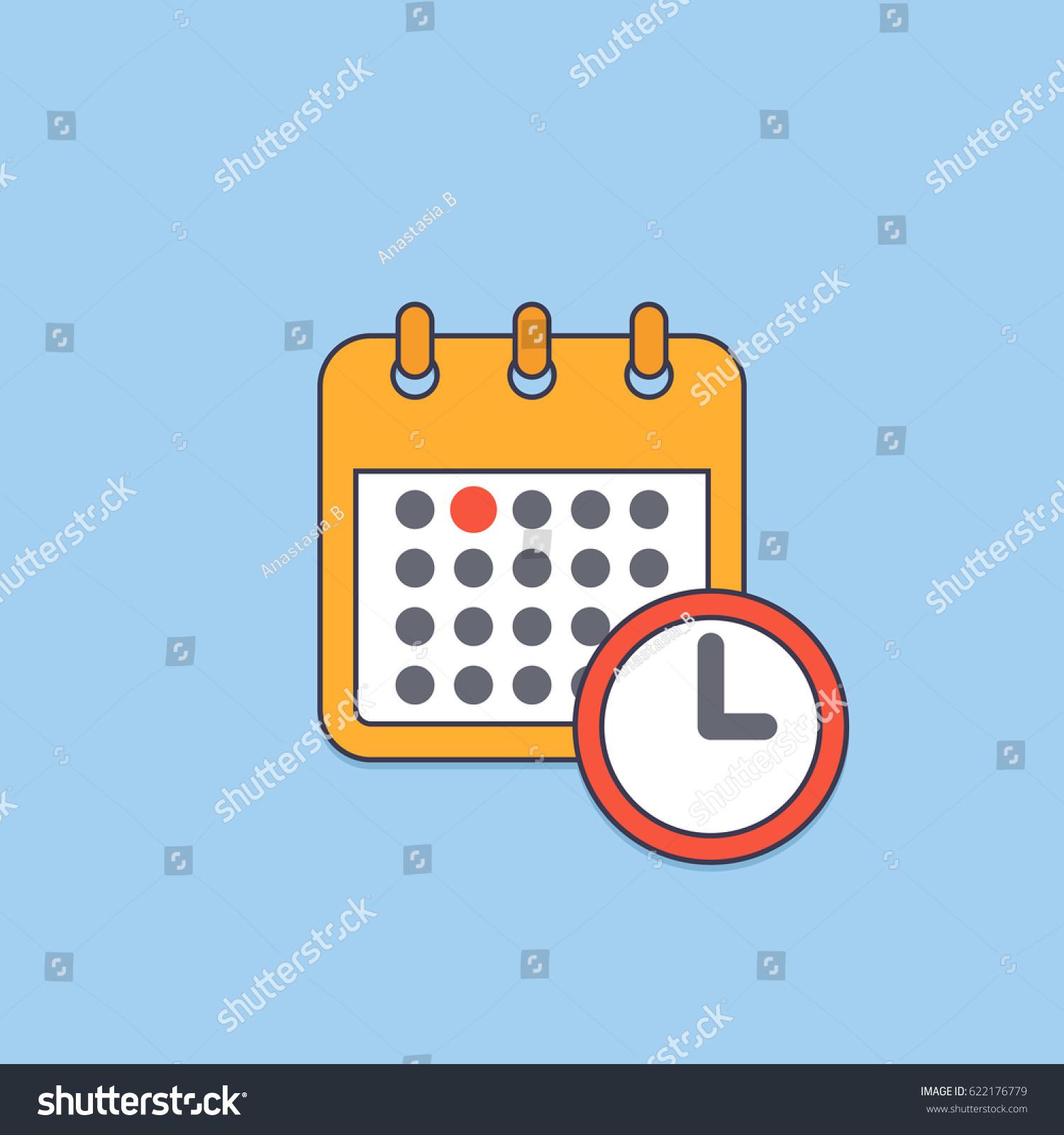 Calendar Timer App Trackingtime Real Time Collaboration And Organization Vector Calendar Deadline Reminder Symbol Meeting Stock
