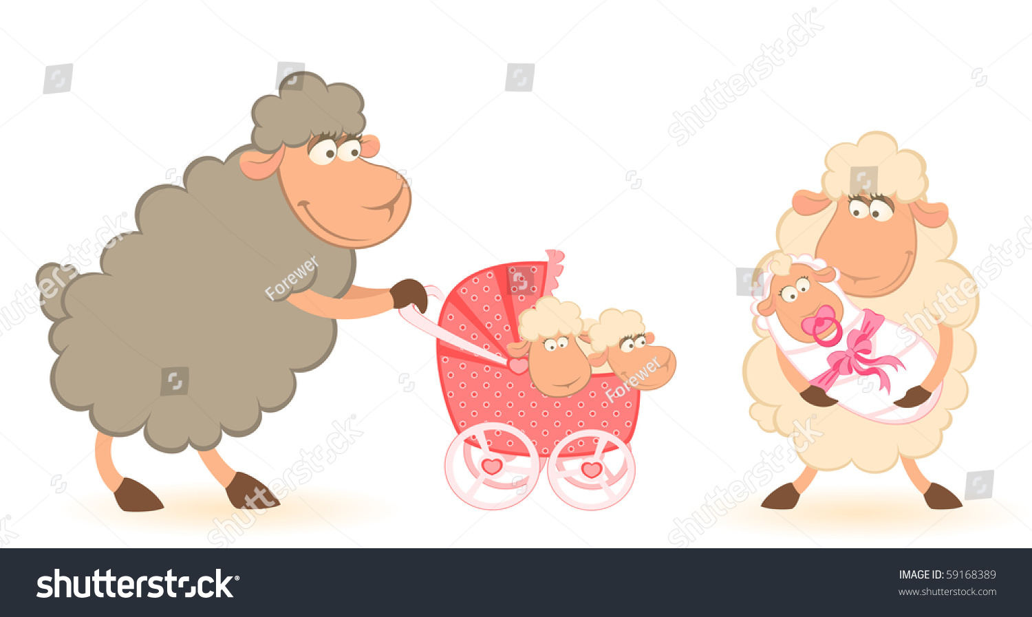 Carriage Pram Stroller Vector Cartoon Smiling Sheep Mother Infant Stock Vector