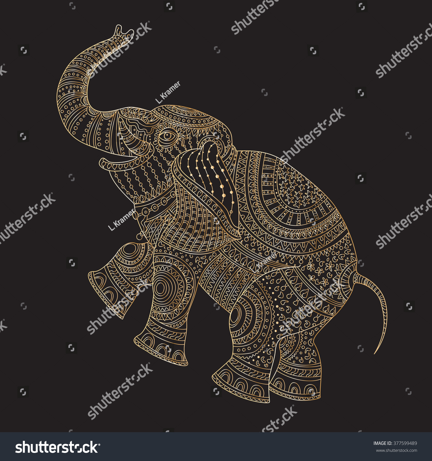Zentangle Elefant Vorlage Vector Decorative Fantasy Stylized Ornate Elephant Stock