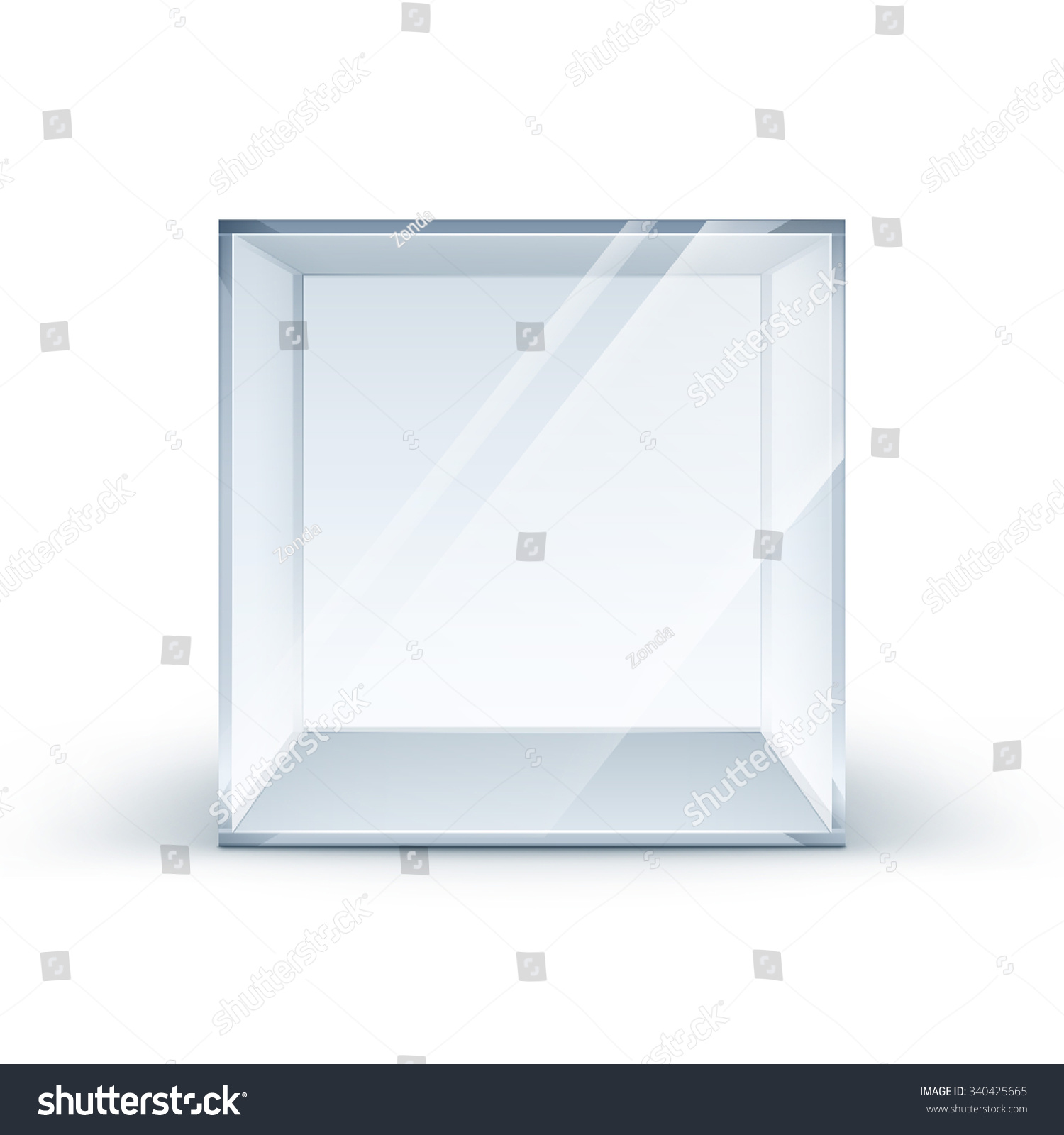 Durchsichtige Box Vector Empty Transparent Glass Box Cube Stock Vektorgrafik