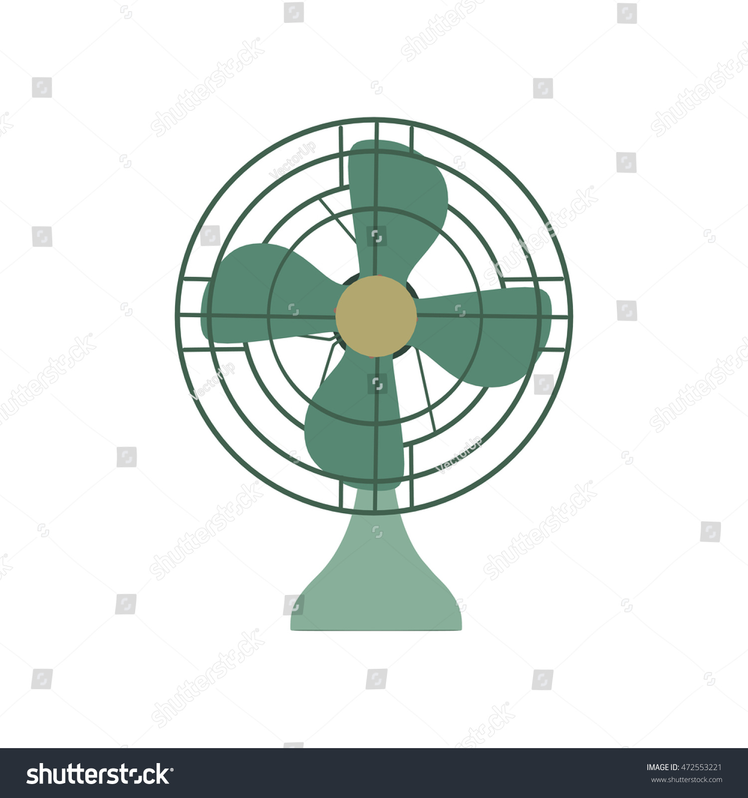 Symbool Ventilator Vector Fan Green Electric Front View Stock Vector