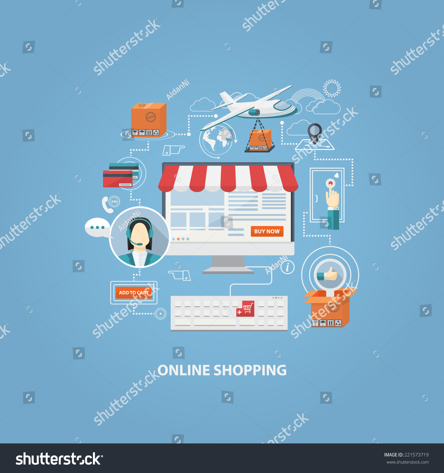 Poster Online Kaufen Vector Flat Design Shopping Conceptbuying Online Stock Vector (royalty Free) 221573719