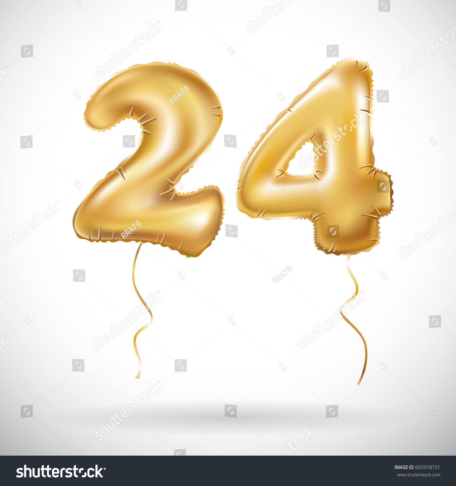 Vector Golden 24 Number Twenty Four Stock Vector Royalty Free 692918731