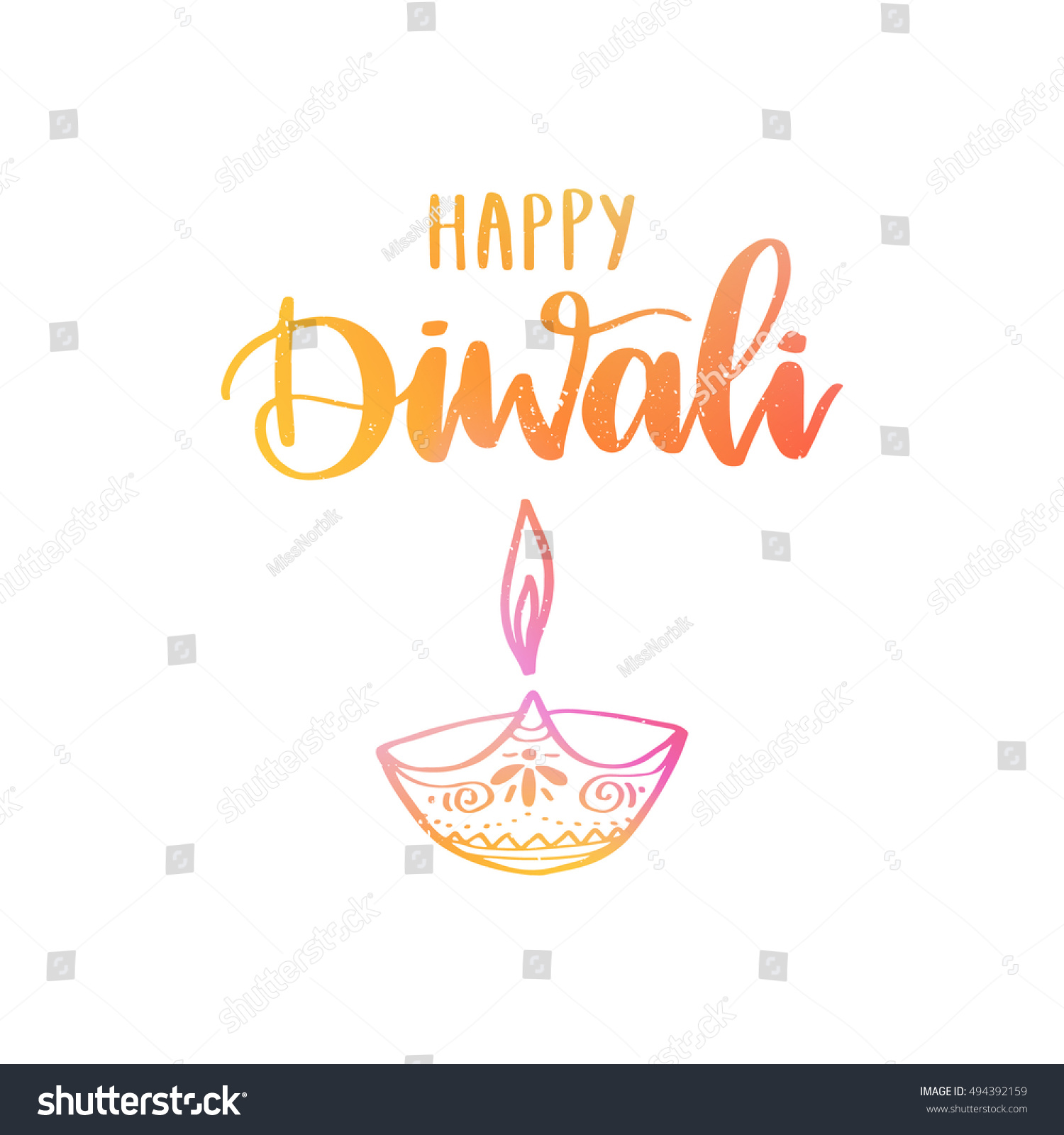 Diwali Black And White Pictures Vector Hand Drawn Greeting Card Happy Stock Vector