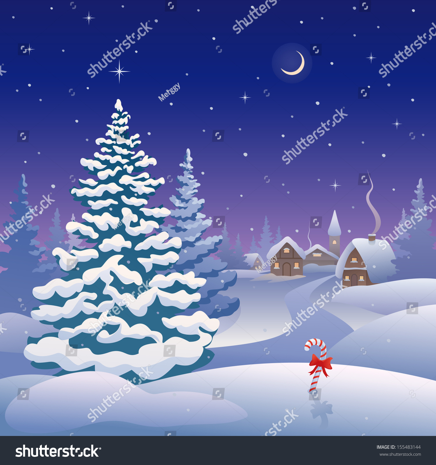 Mma Salon De Provence Clip Art Illustration Of A Christmas Village In The Snow