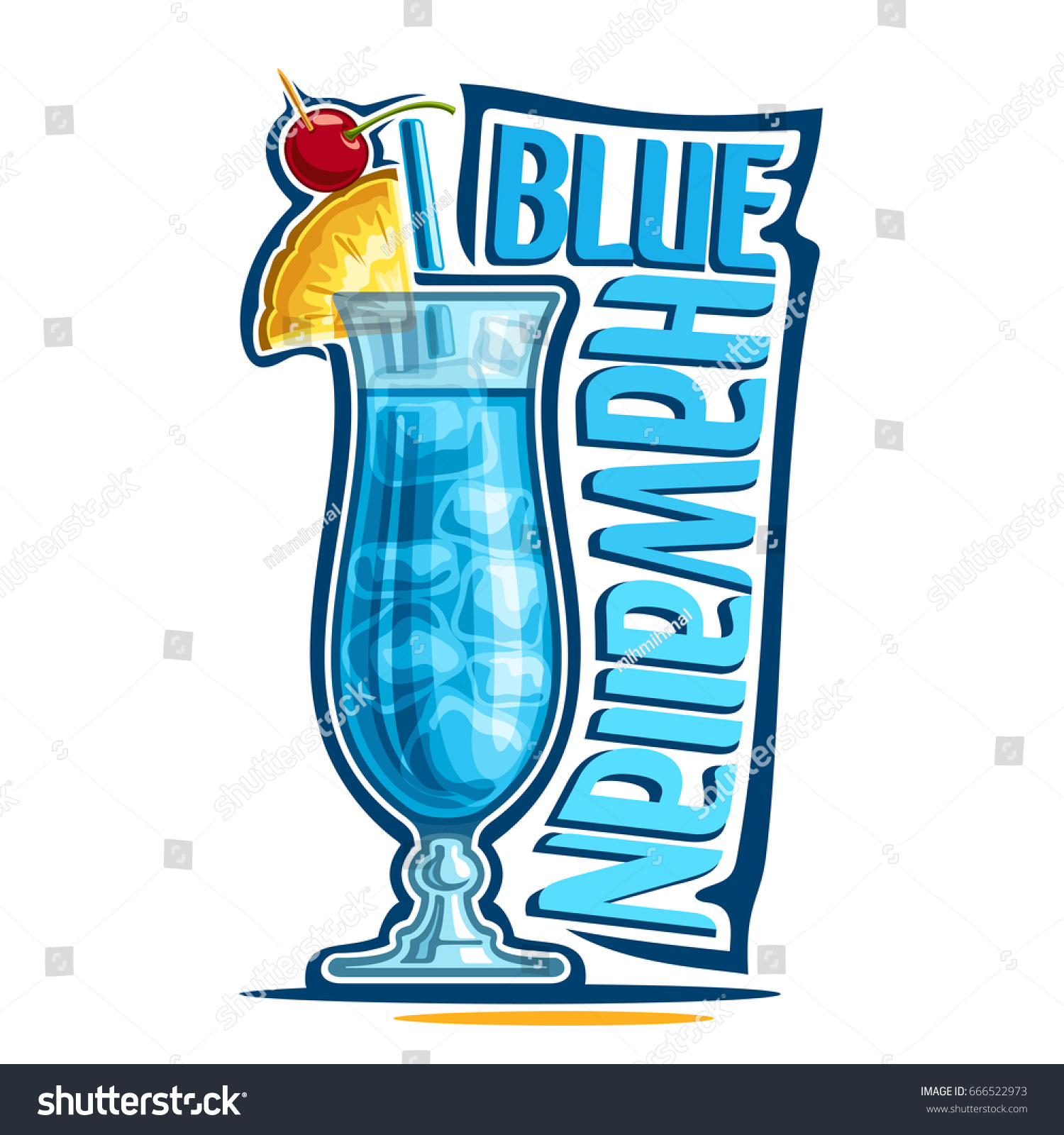 Blue Curacao Cocktail Alkoholfrei Vector Illustration Alcohol Cocktail Blue Hawaiian Stock Vector