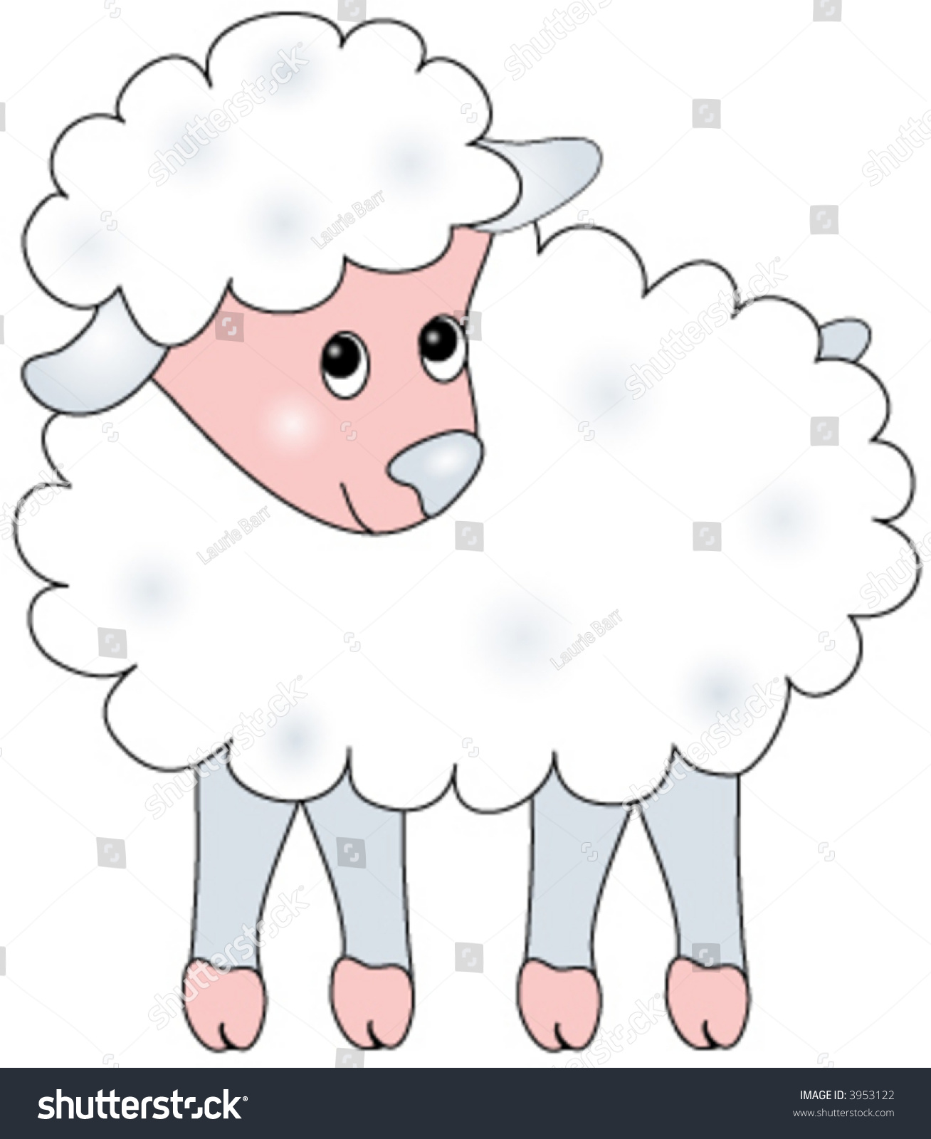 Baby Lamb Drawing Vector Illustration Baby Sheep Stock Vector 3953122