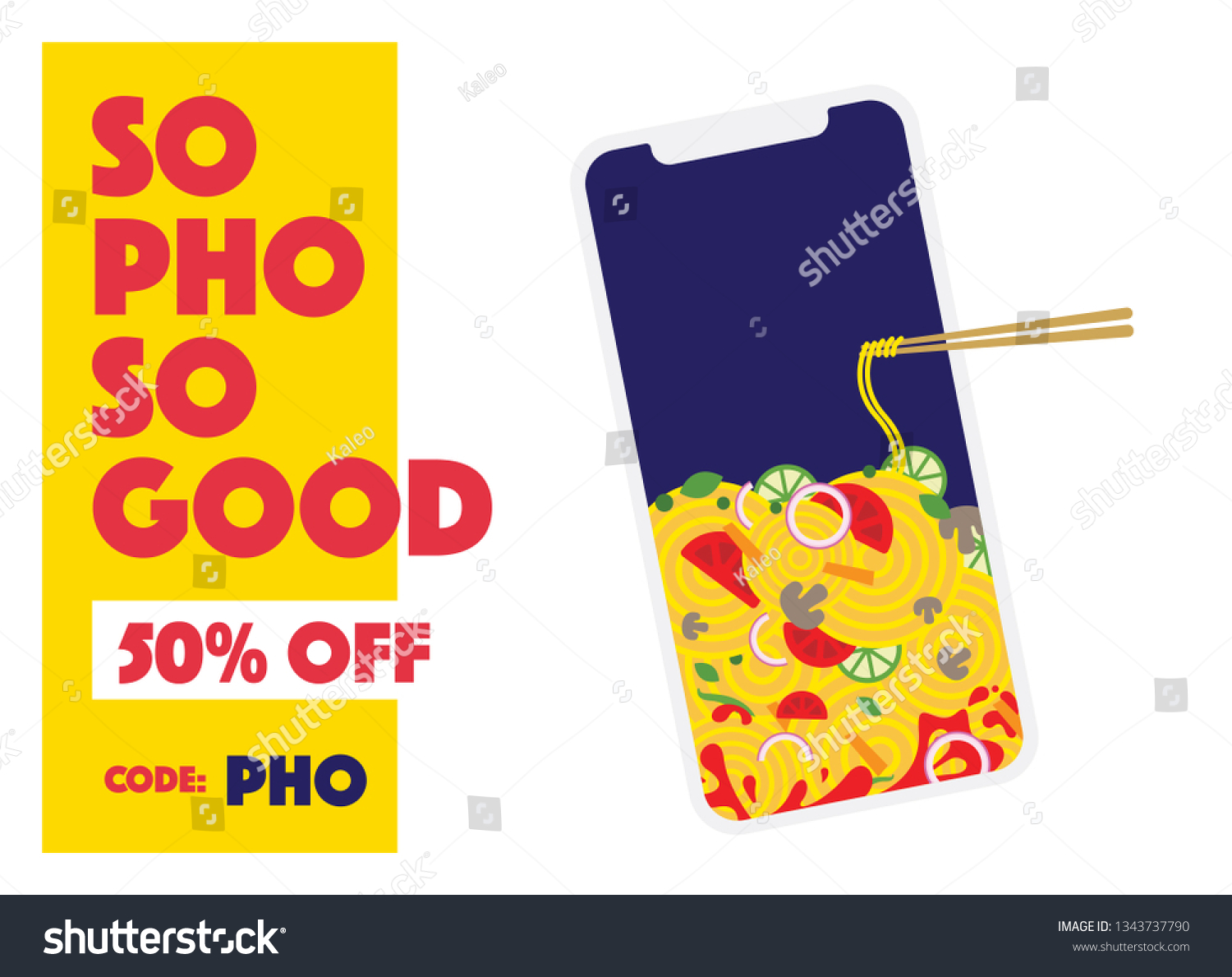 Pho Delivery Vector Illustration Noodle Phone Pho Delivery Stock Vector
