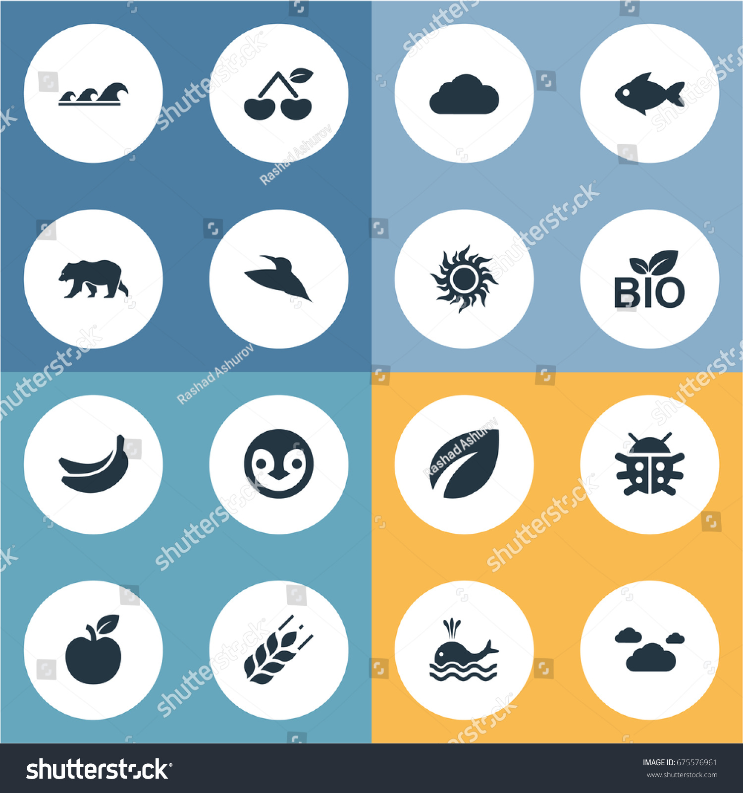 Grain Bio Vector Illustration Set Simple Bio Icons Stock Vector Royalty