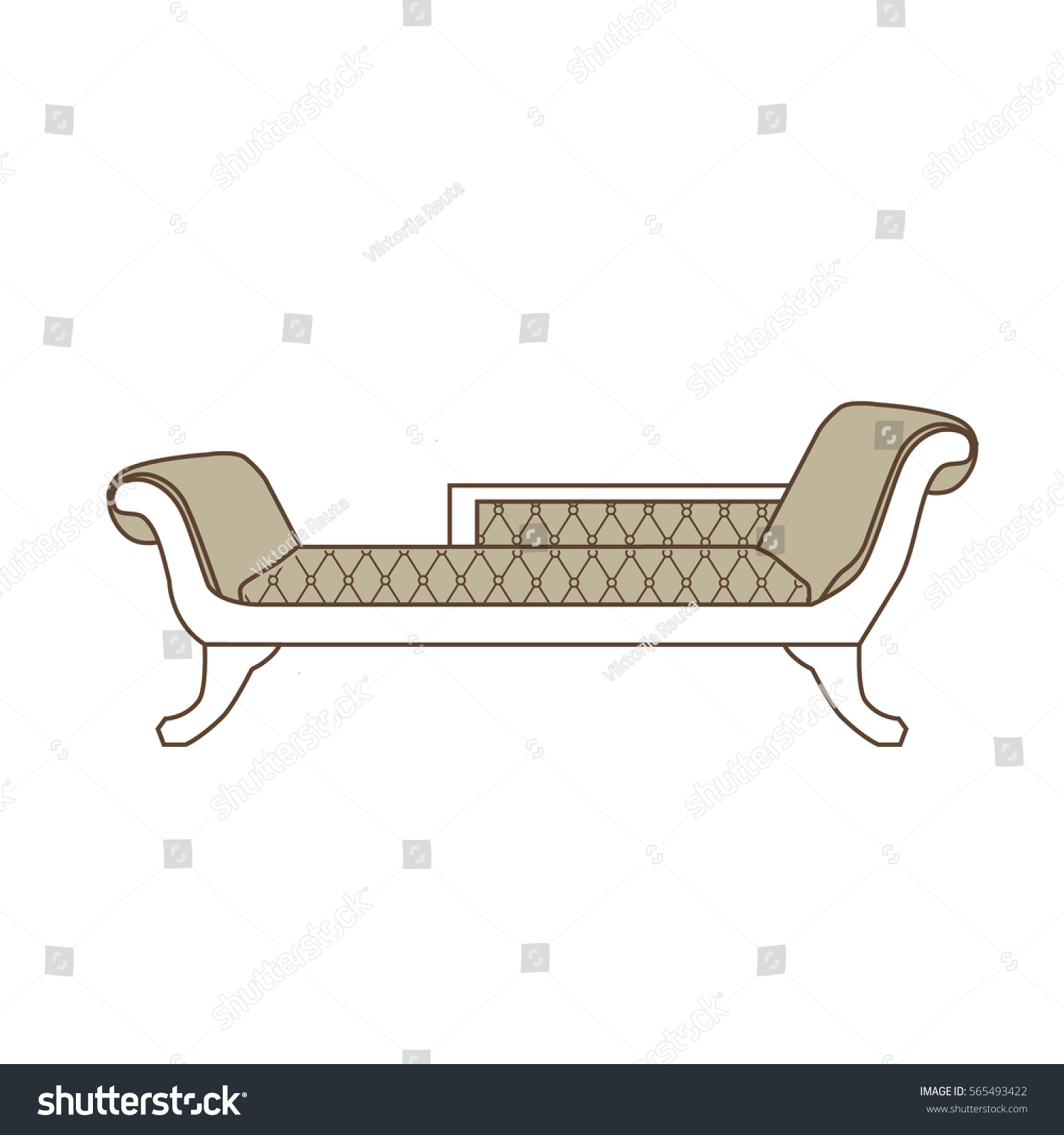 Sofa Set Vector Png Vector Illustration Vintage Sofa Divan Couch Stock Vector Royalty