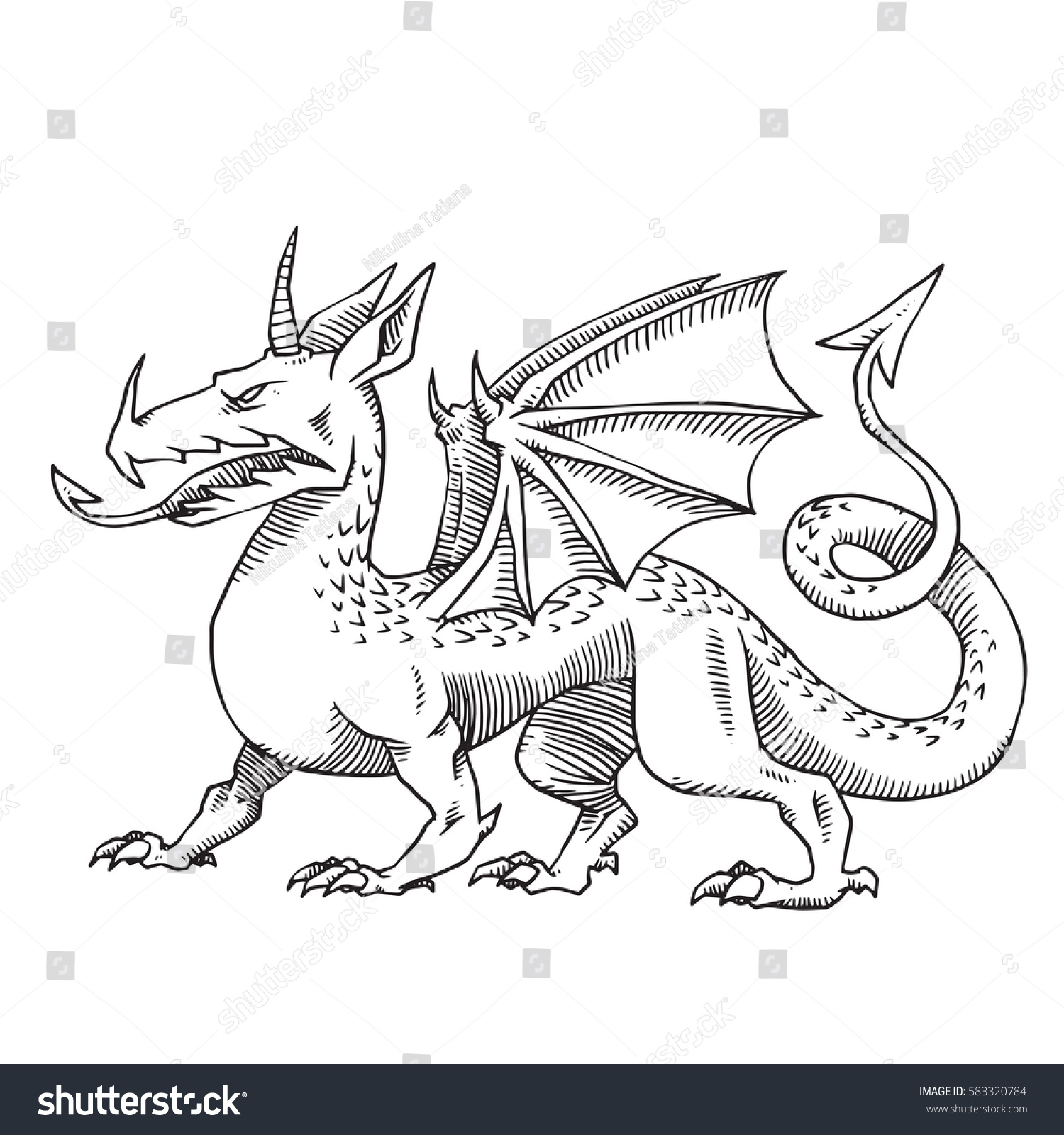 Vector image of heraldic dragon with one horn and wings standing and looking to the left