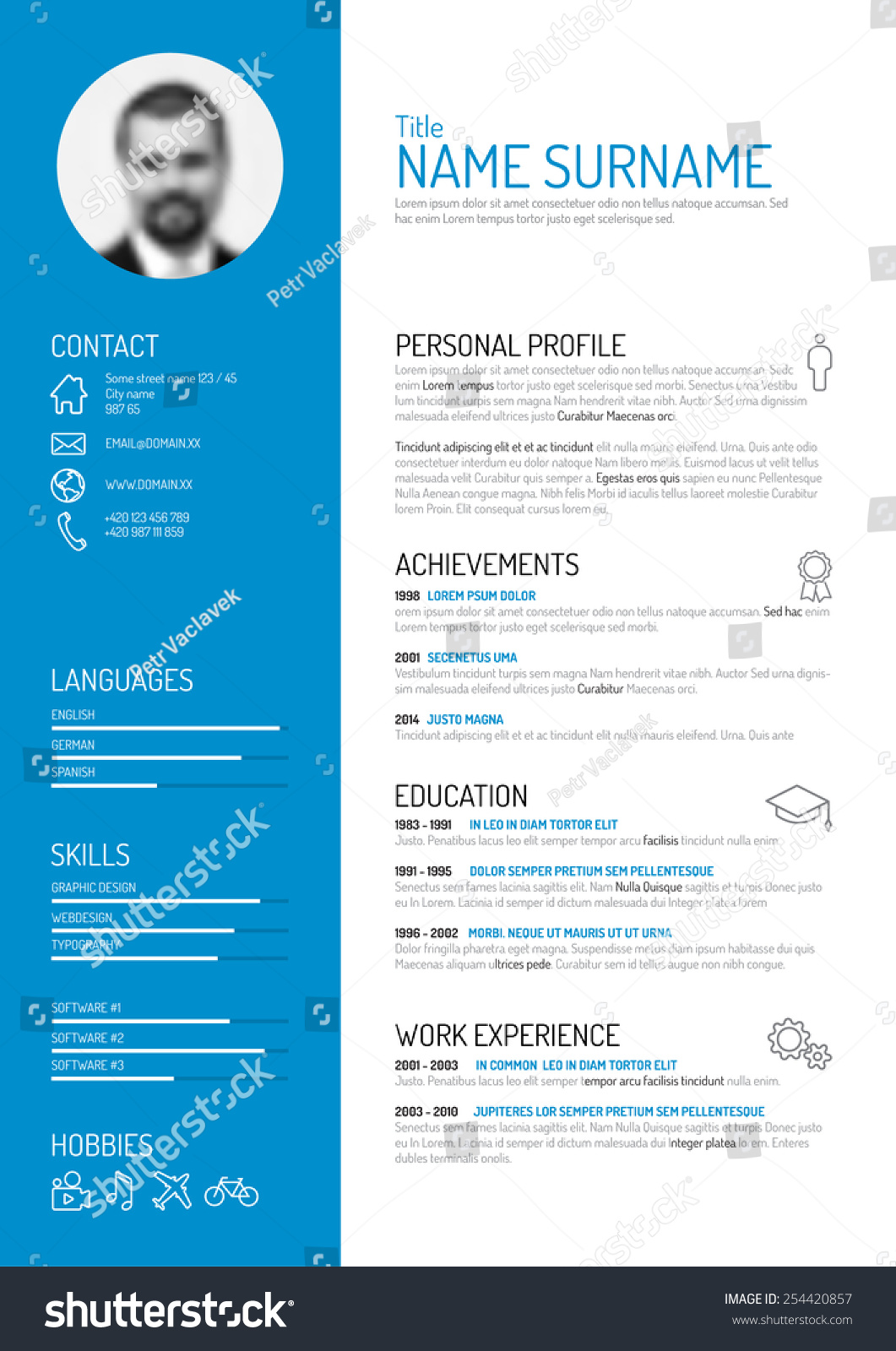 Online Resume Builders The Fastest Resume Builder Vector Minimalist Cv Resume Template Stock Vector