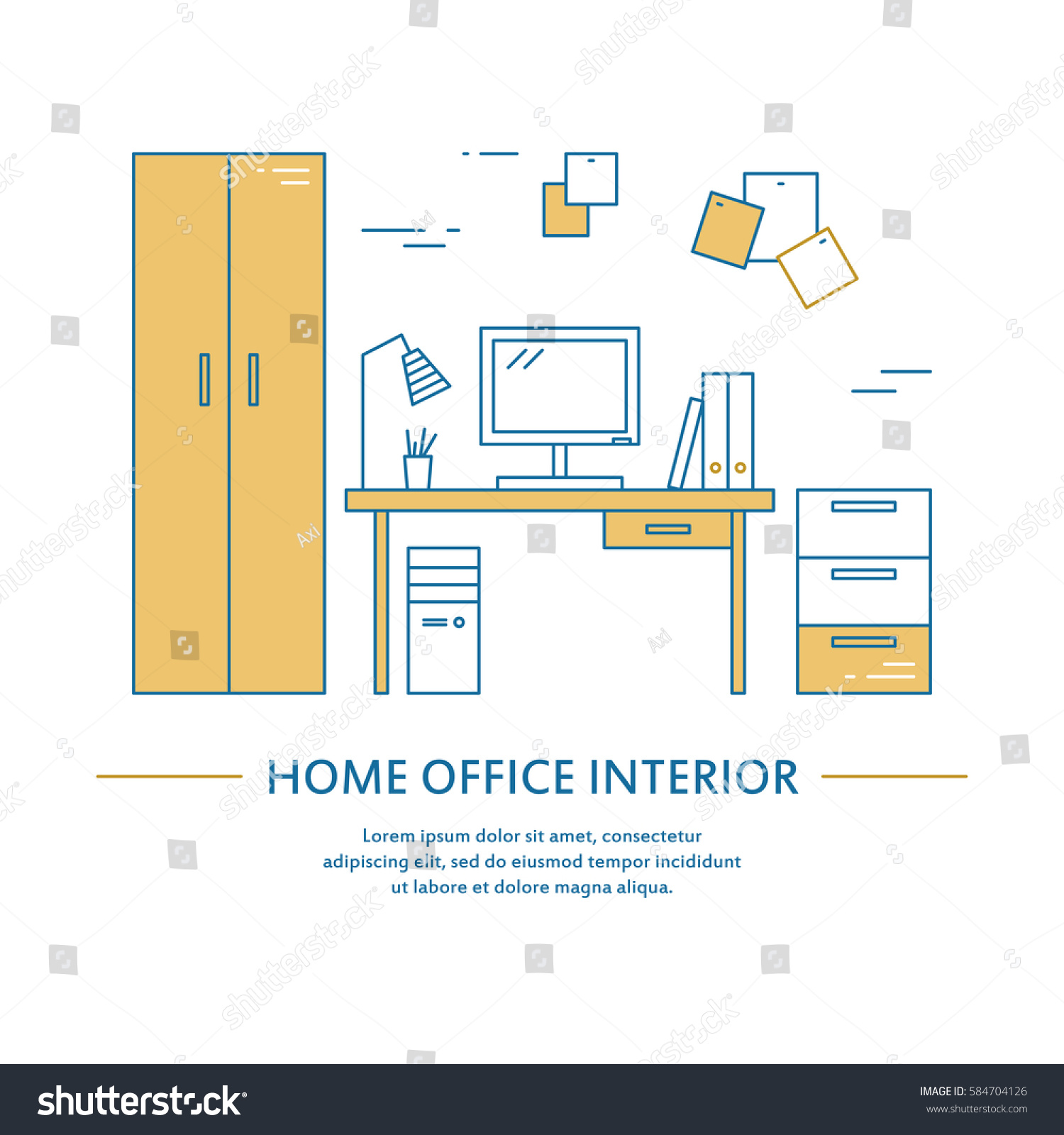 Interior Decoration Business Plan Vector Office Interior Design Brochure Cover Stock Vector