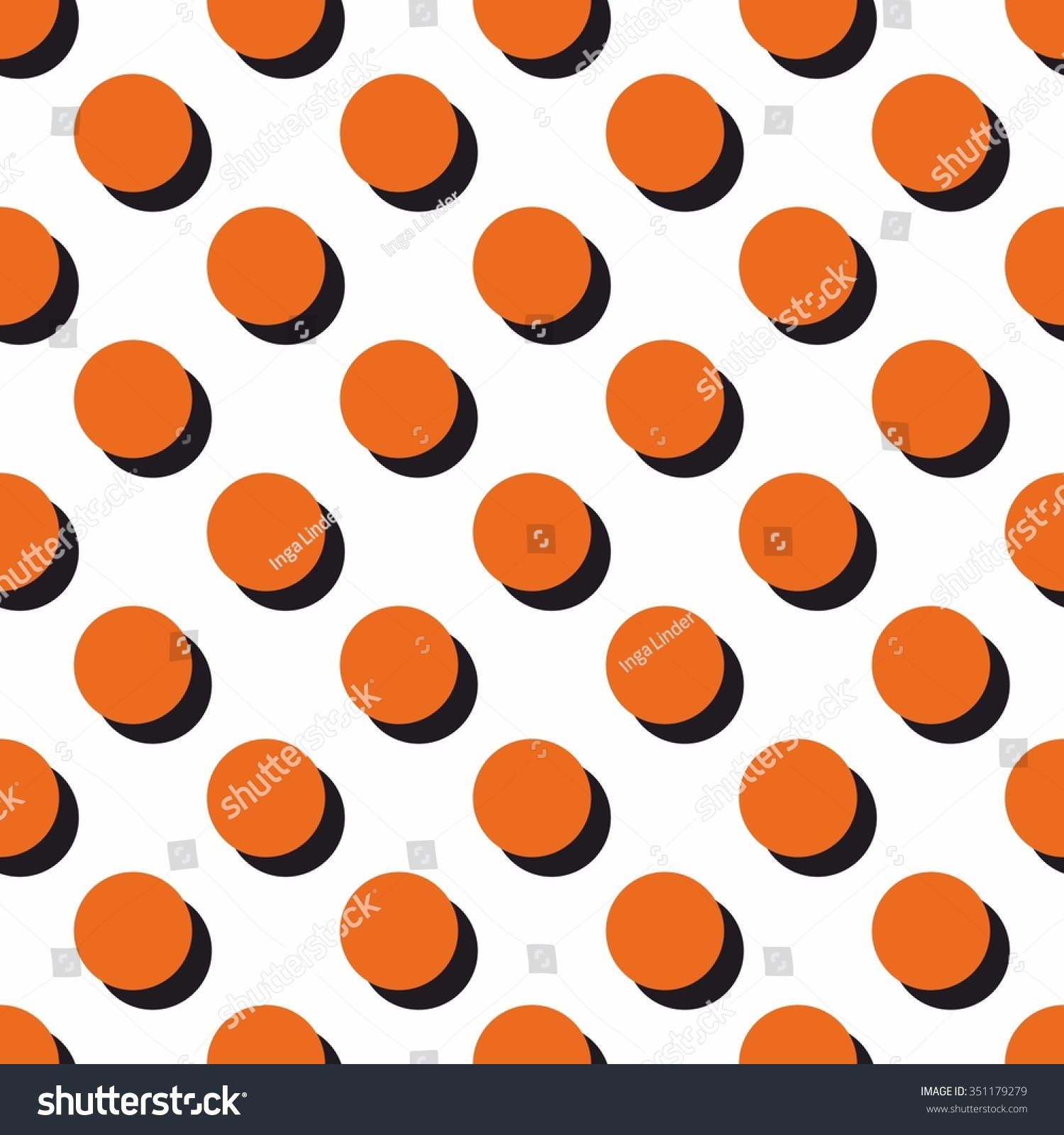 Carta Da Parati A Pois Vector Pattern Big Orange Polka Dots Stock Vector