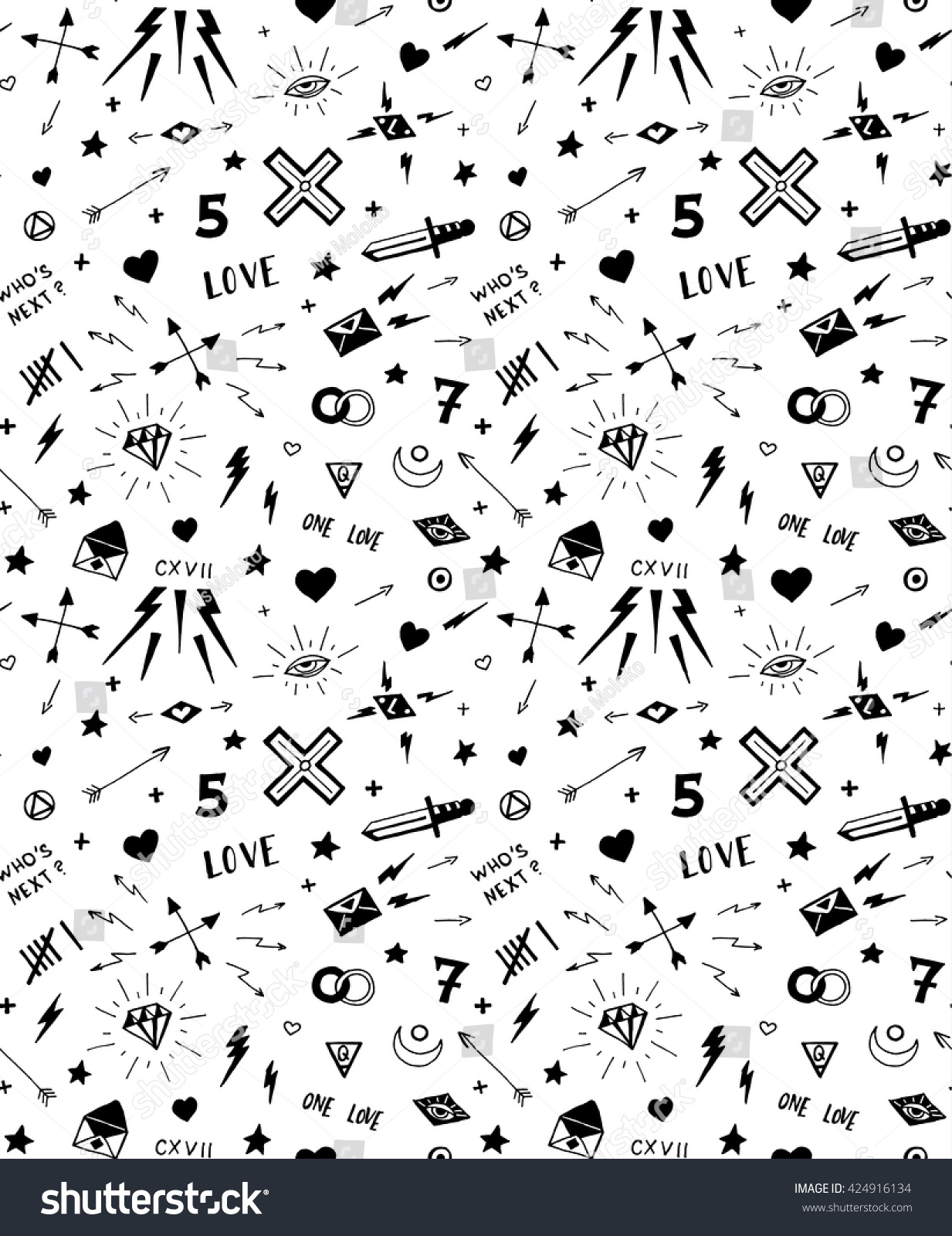 Calligrafia Old School Vector Pattern Old School Tattoo Elements Stock Vector Royalty
