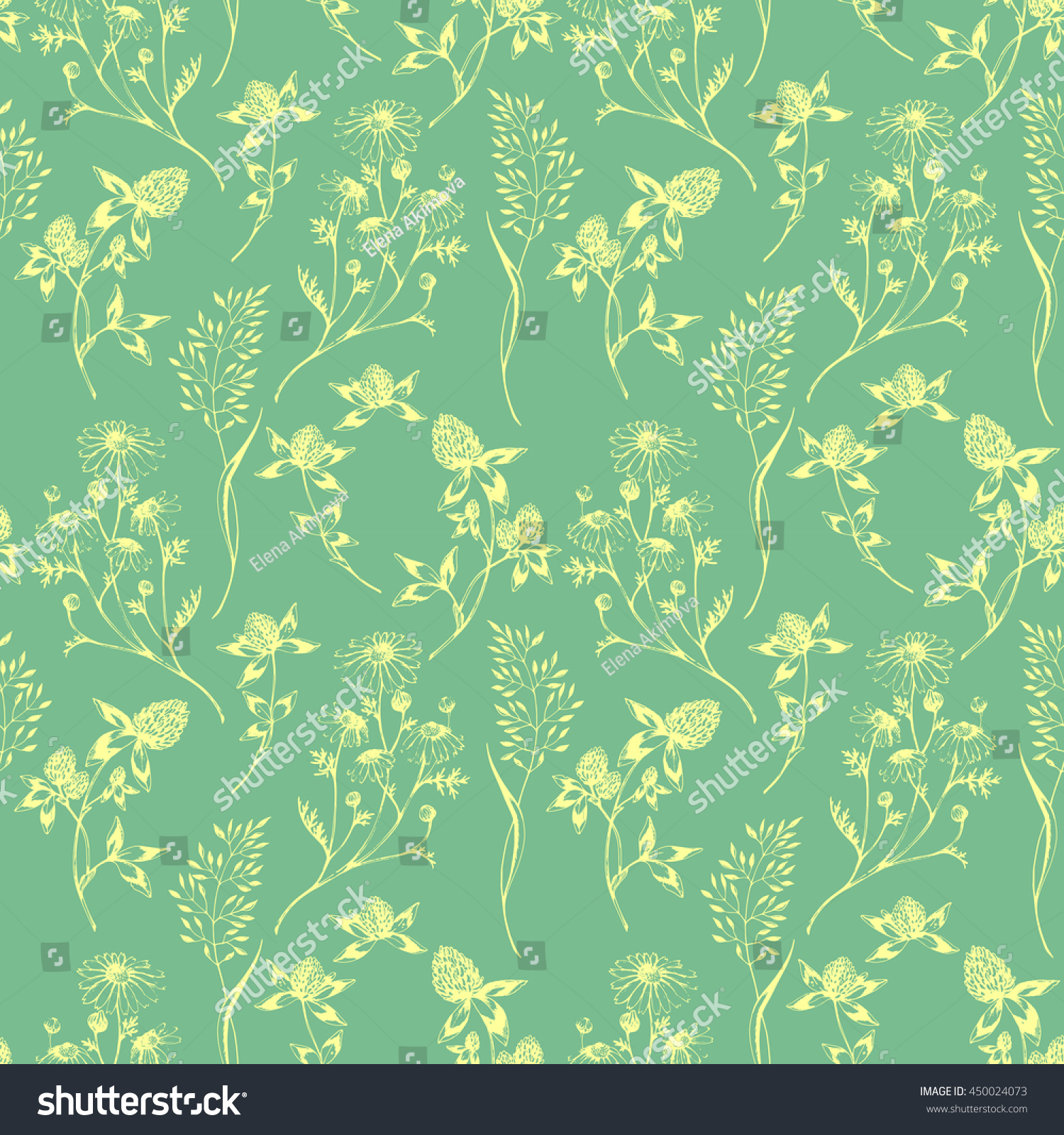 Herbal Wallpaper Vector Seamless Floral Green Pattern With Wild Herbs And Flowers