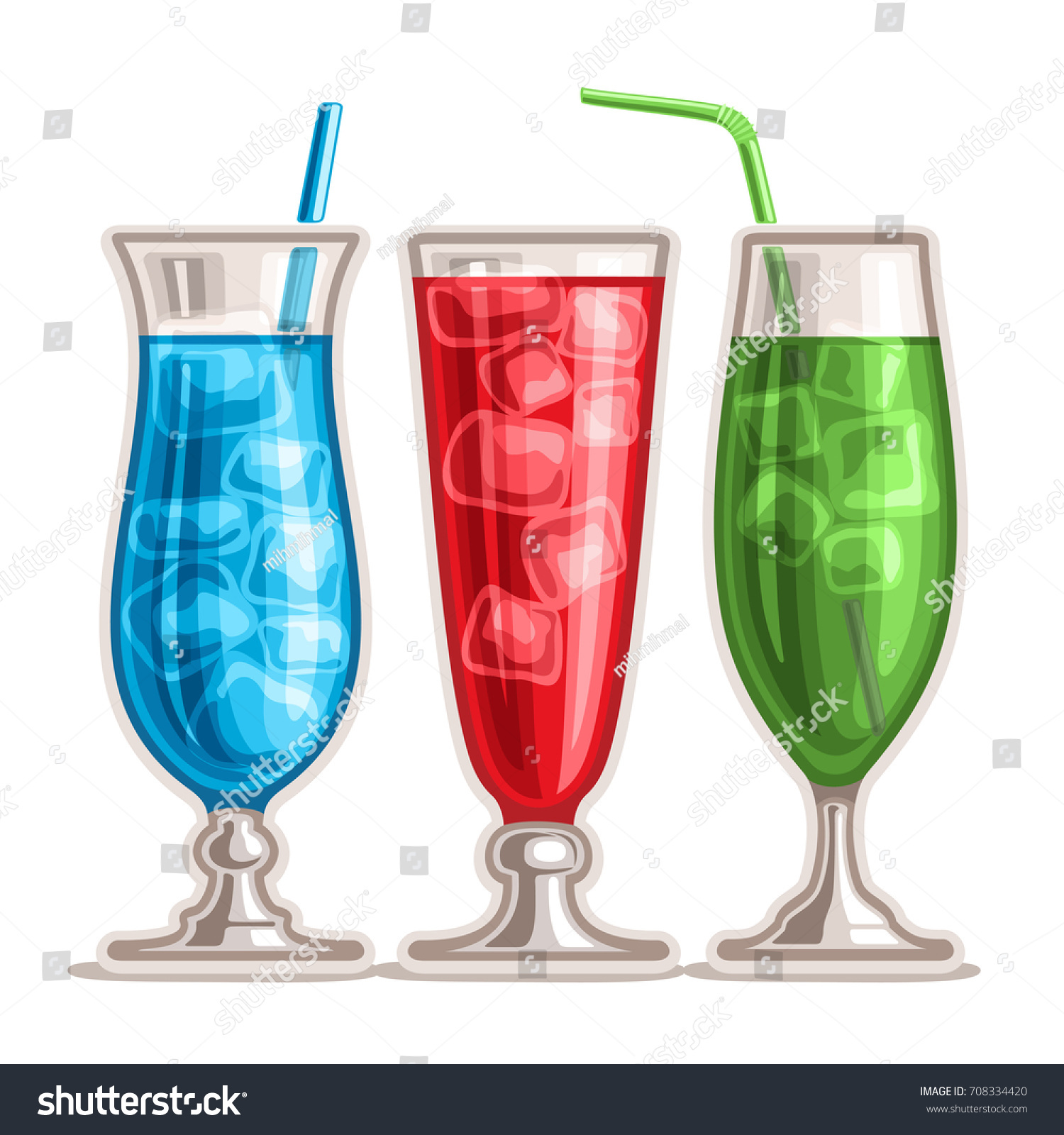 Blue Curacao Cocktail Alkoholfrei Vector Set Colorful Cocktails 3 Tall Stock Vector Royalty Free