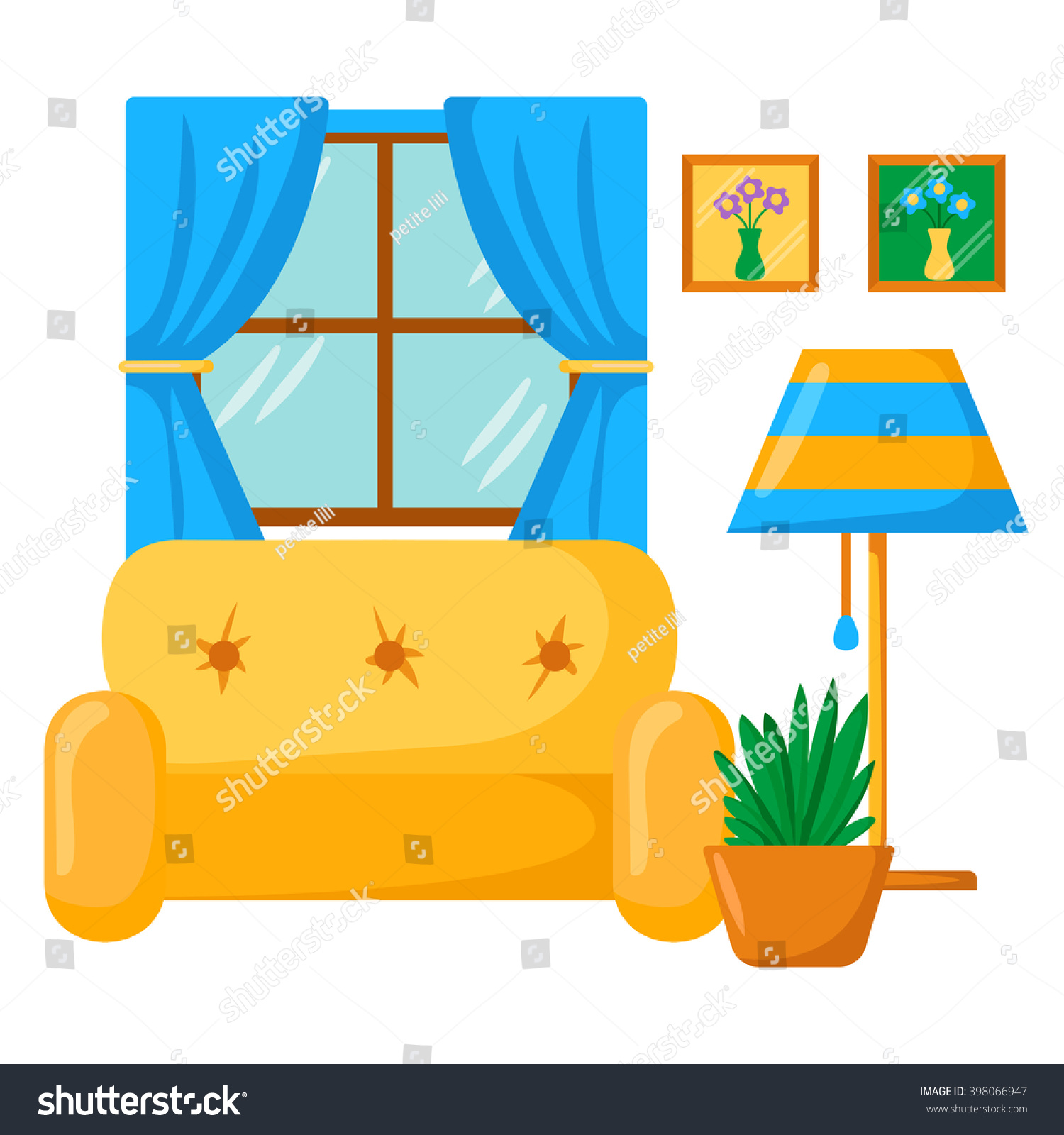 Wohnzimmer Cartoon Vector Sofa Interior Cartoon Living Room Stock Vector