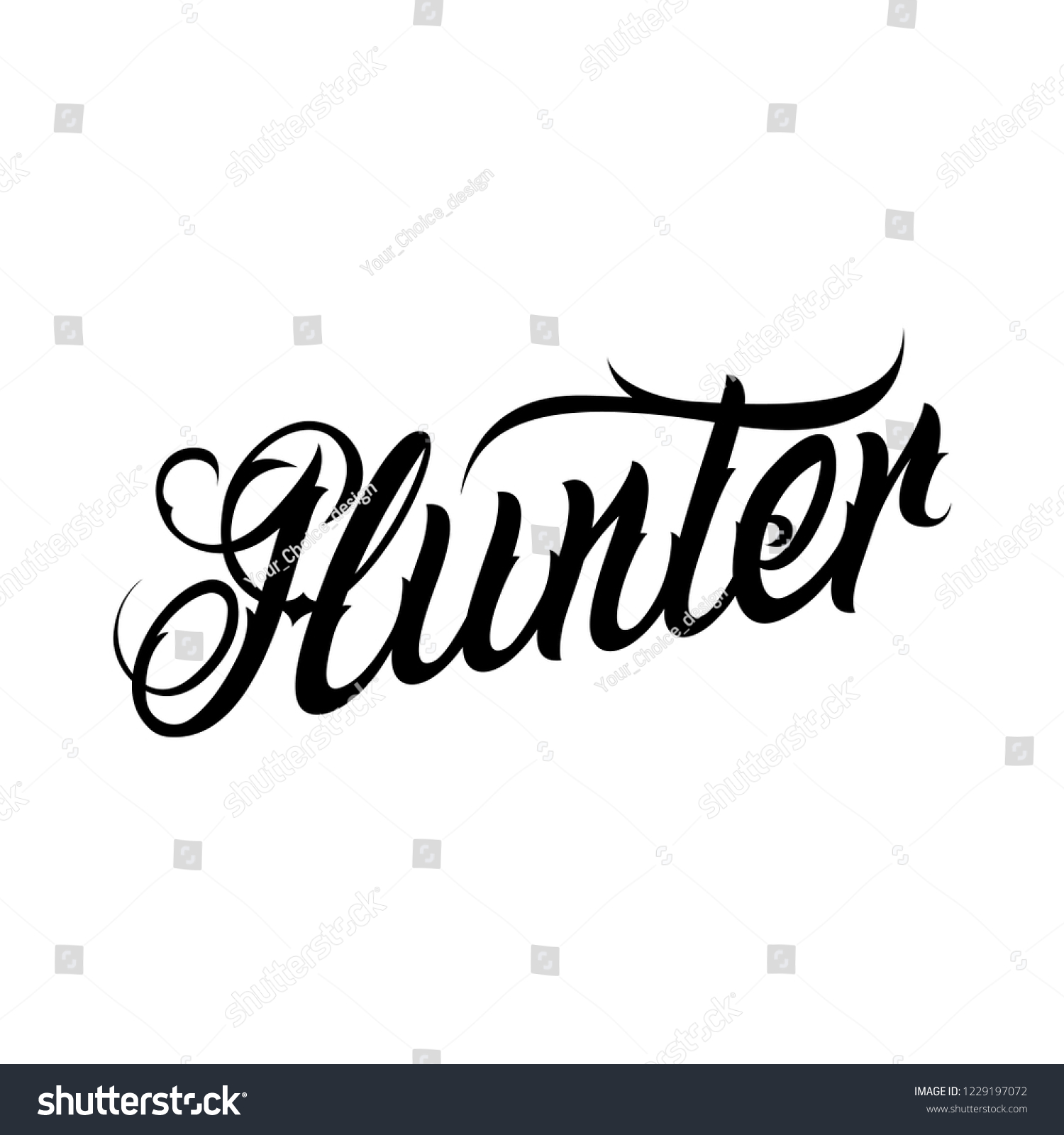 Calligraphy Tattoo Picture Vector Tattoo Lettering Hunter Sketch Name Stock Vector Royalty